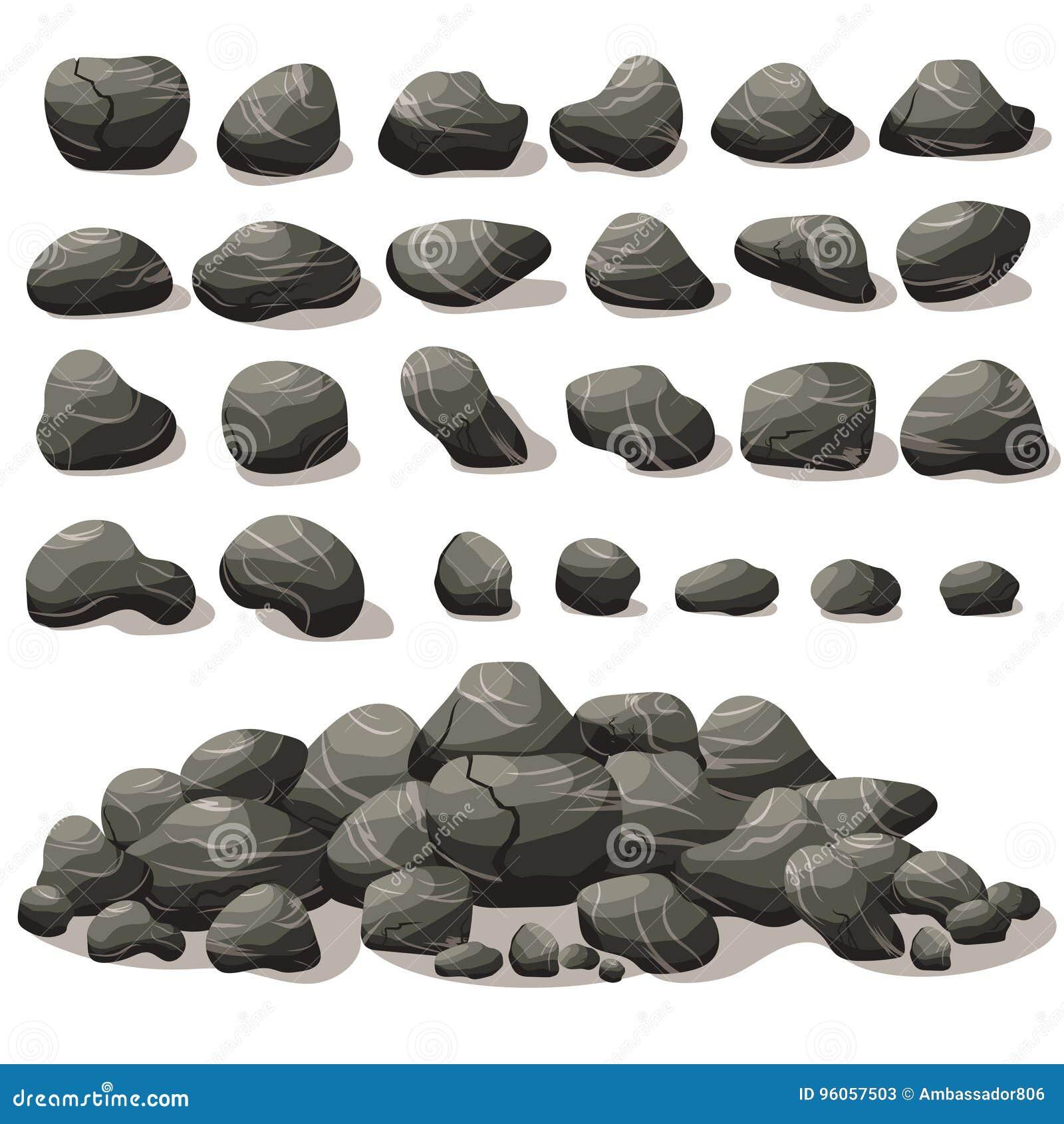 Bande dessinée en pierre de roche dans le style plat isométrique Ensemble de différent