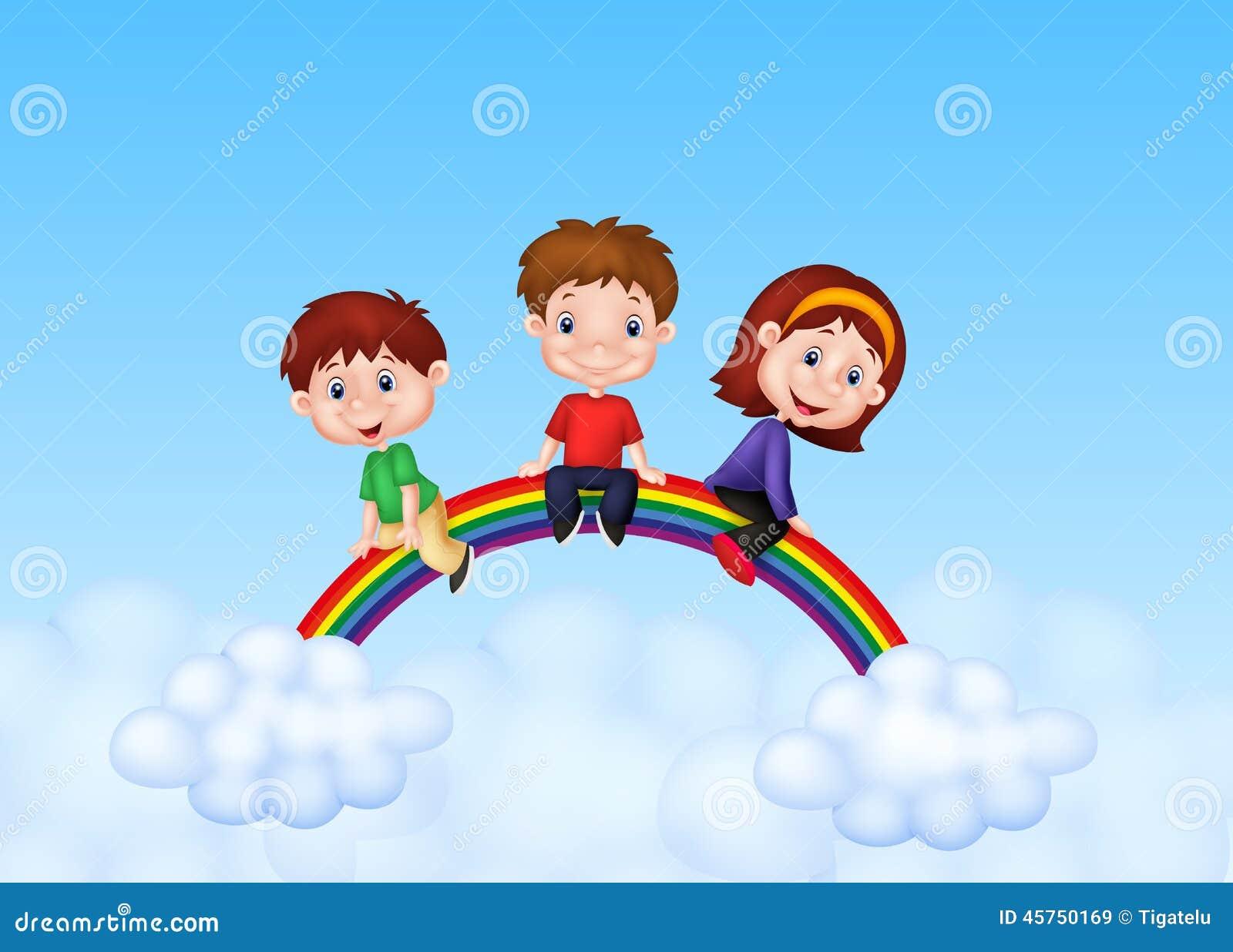 Bande dessinée heureuse d enfants se reposant sur l arc-en-ciel