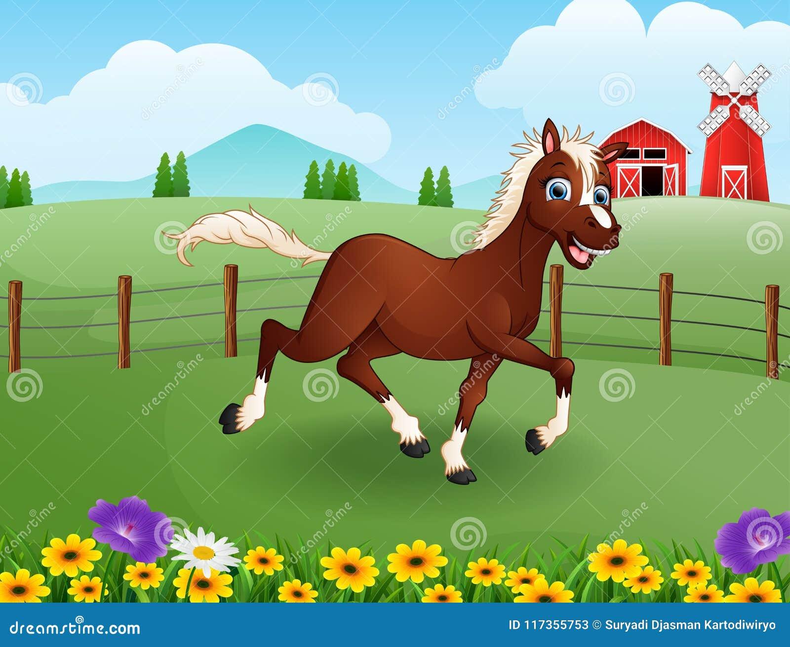 Bande dessinée heureuse de cheval dans la ferme avec le champ vert
