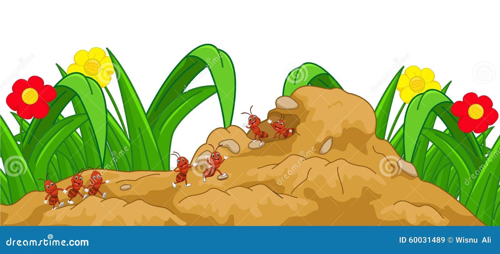 Bande dessinée heureuse de fourmi dans le nid