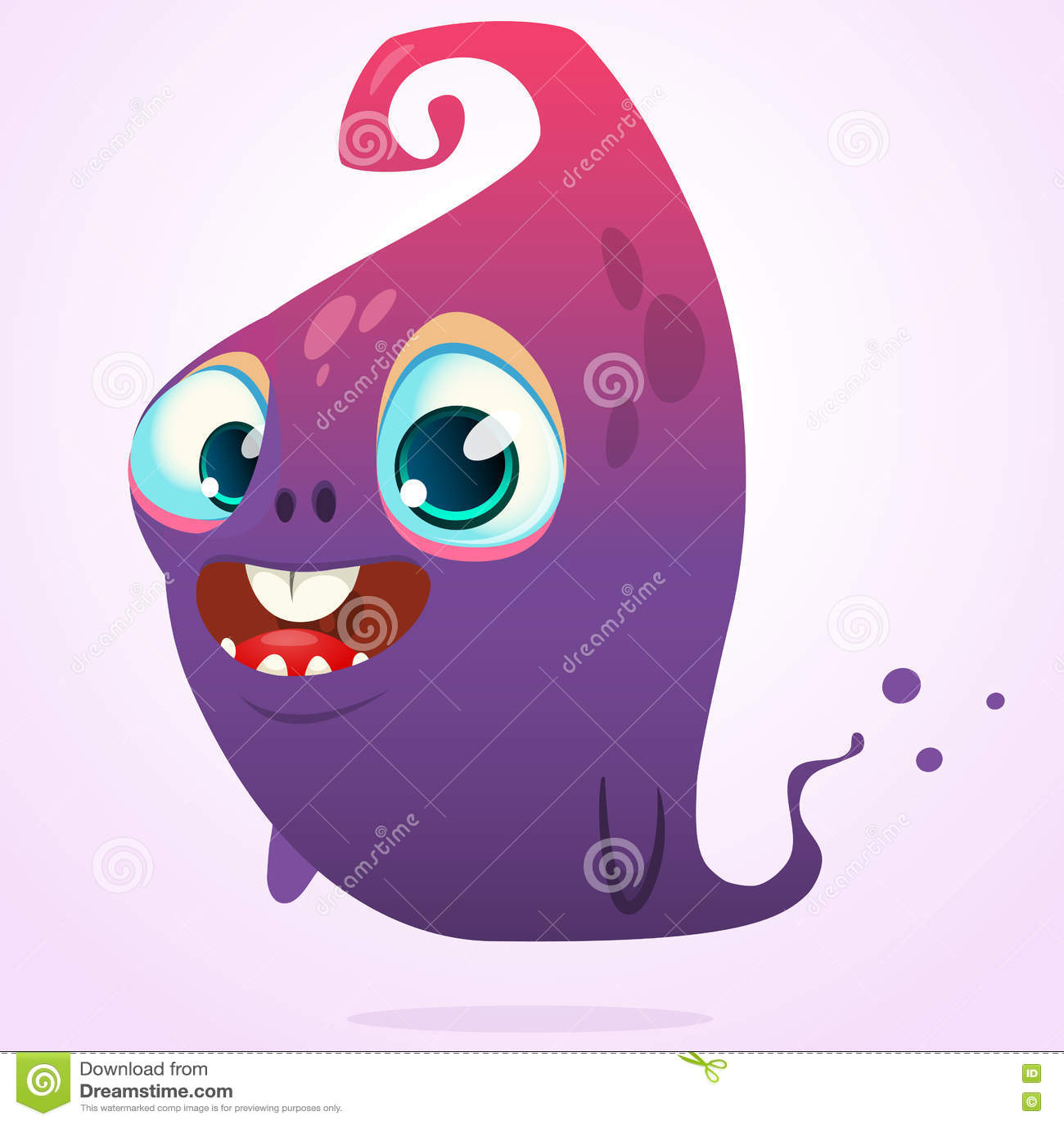 Bande dessinée heureuse rose et caractère bleu de monstre de Halloween de vecteur de fantôme d isolement