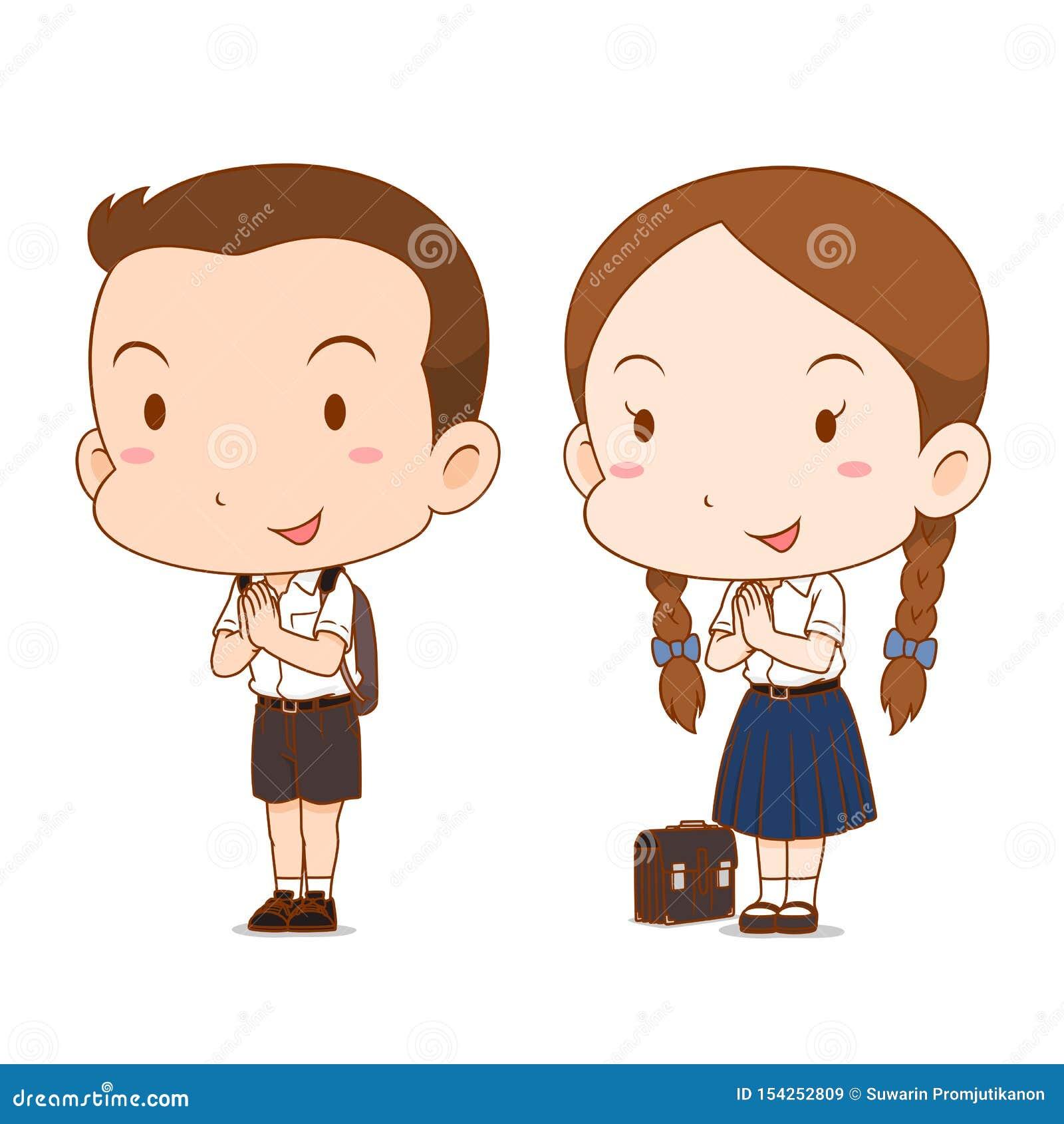 Bande dessinée mignonne de couples de hauts écolier et fille