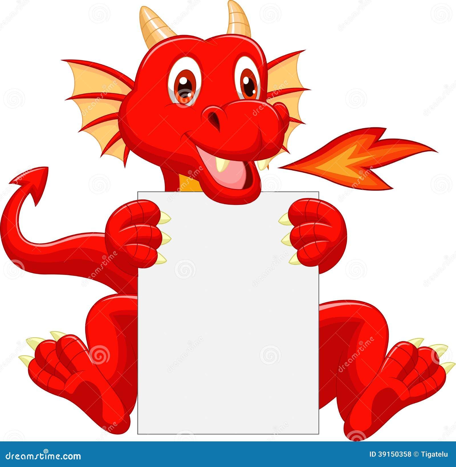 Bande dessinée mignonne de dragon tenant le signe vide