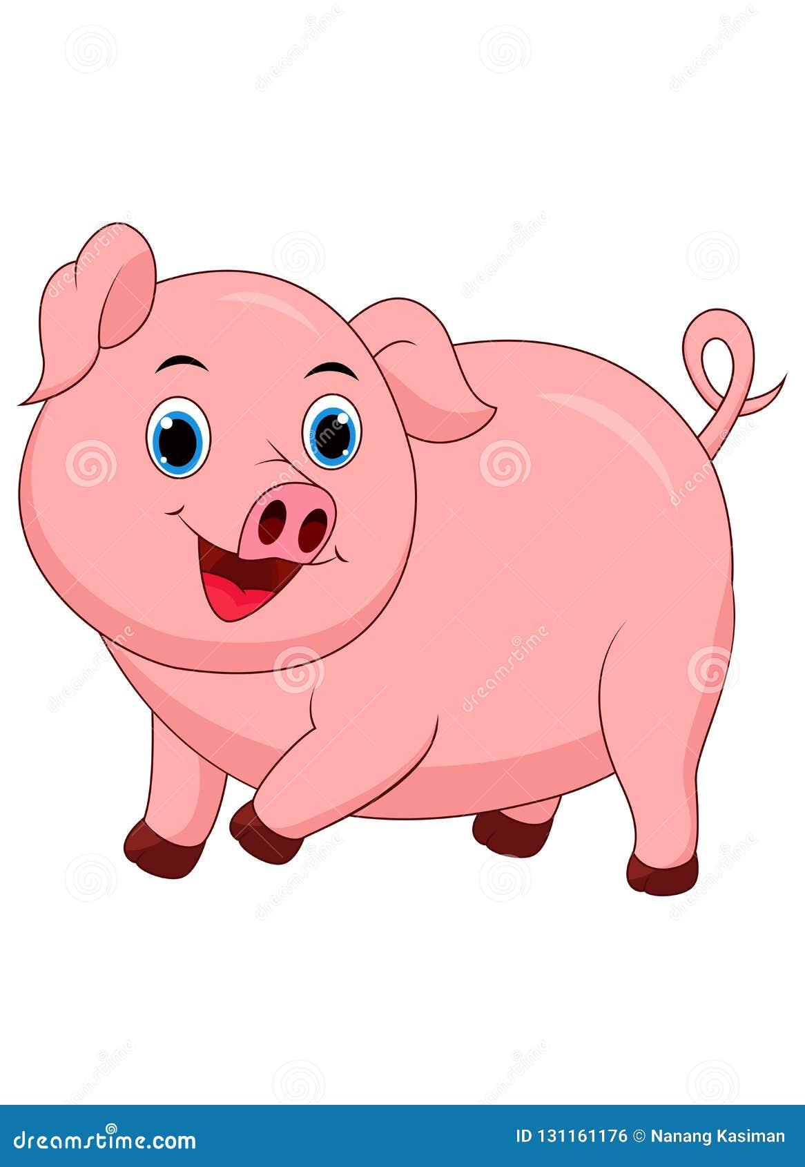 Bande dessinée mignonne de porc d isolement sur le fond blanc
