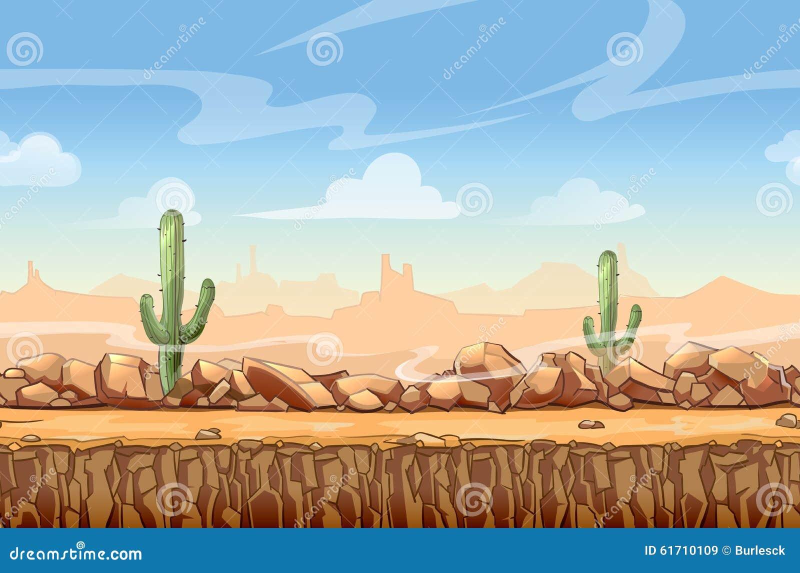Bande dessinée occidentale sauvage de paysage de désert sans couture