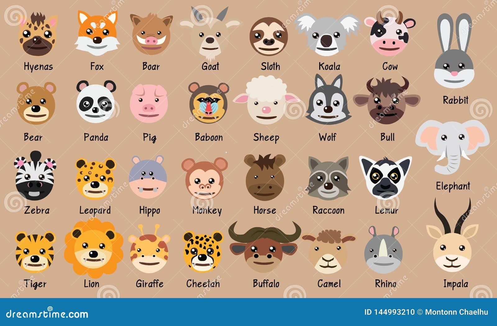Bande dessinée principale mignonne Vec de porc d ours panda de léopard de zèbre d hippopotame de tigre de buffle de raton lave