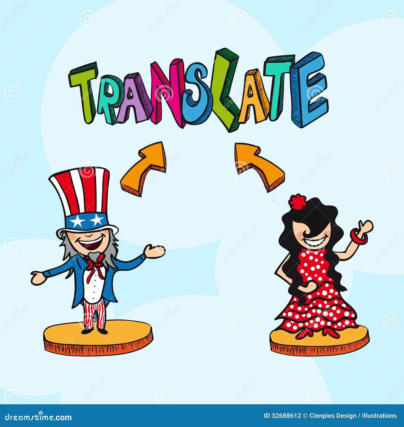 Bande dessin e anglais espagnol de personnes de concept de for Lit traduction