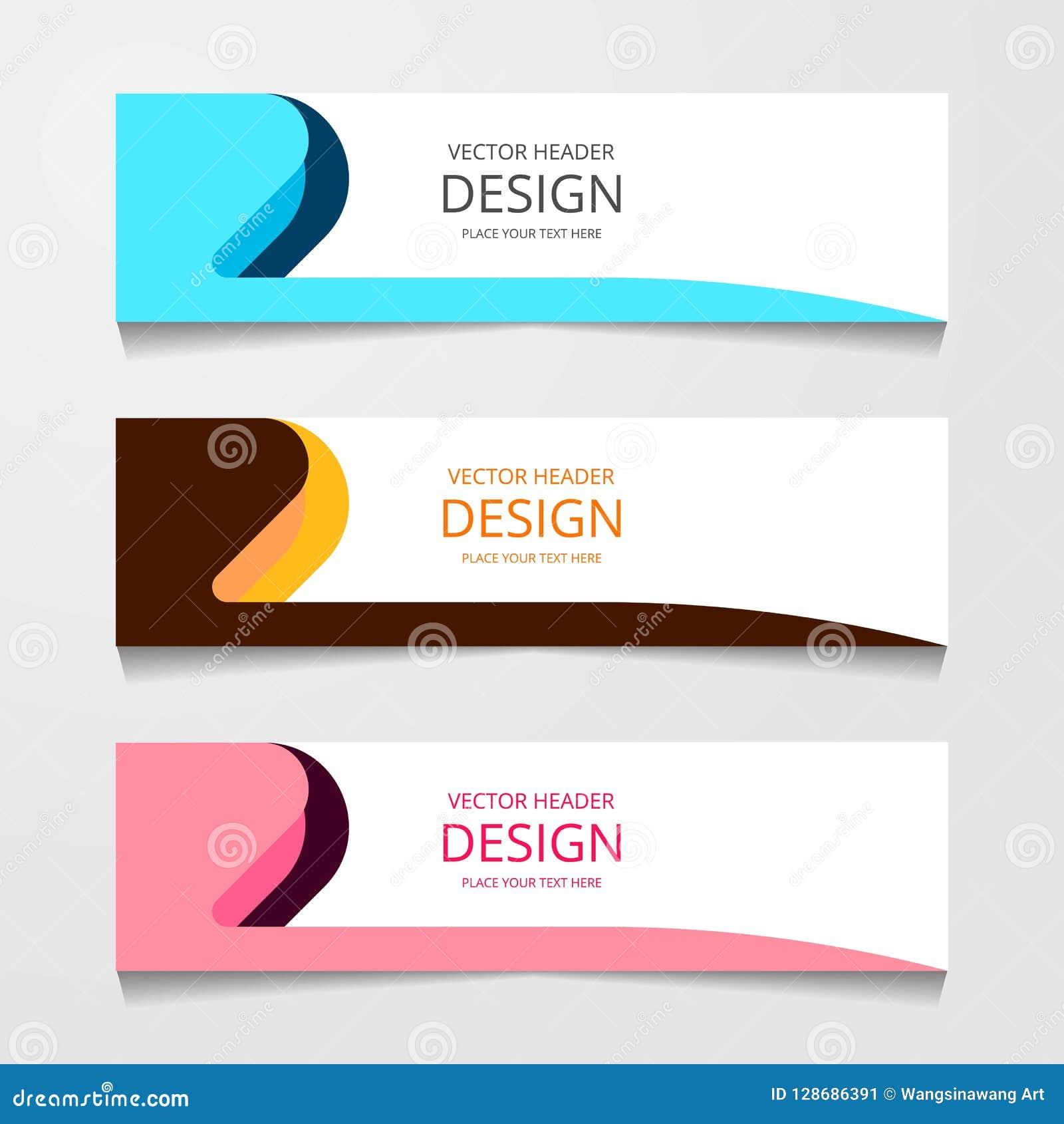 Bandeira abstrata do projeto, molde da Web com três cor diferente, moldes do encabeçamento da disposição, ilustração moderna do v