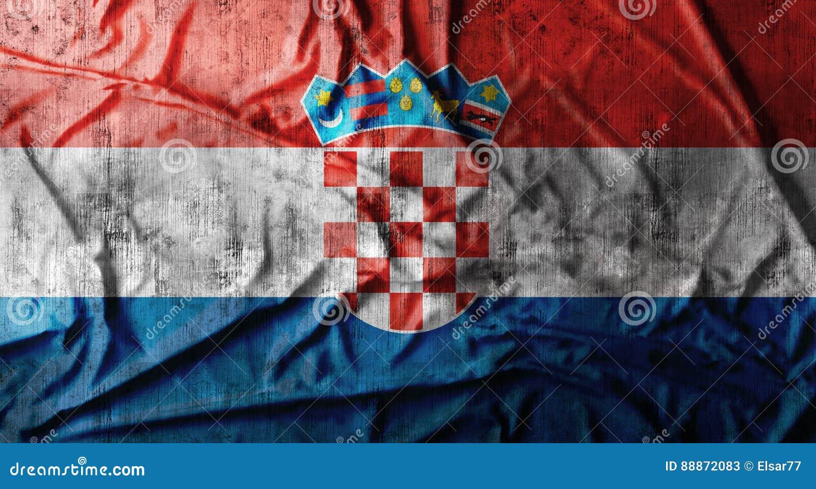 Bandeira amarrotada Grunge da Croácia rendição 3d