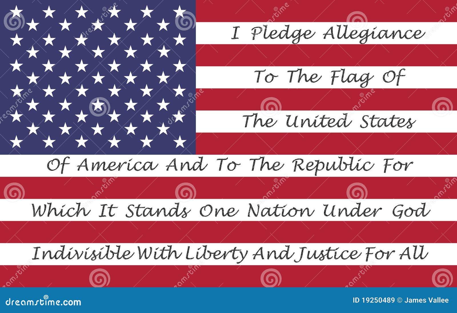 Bandeira americana com o Pledge da fidelidade