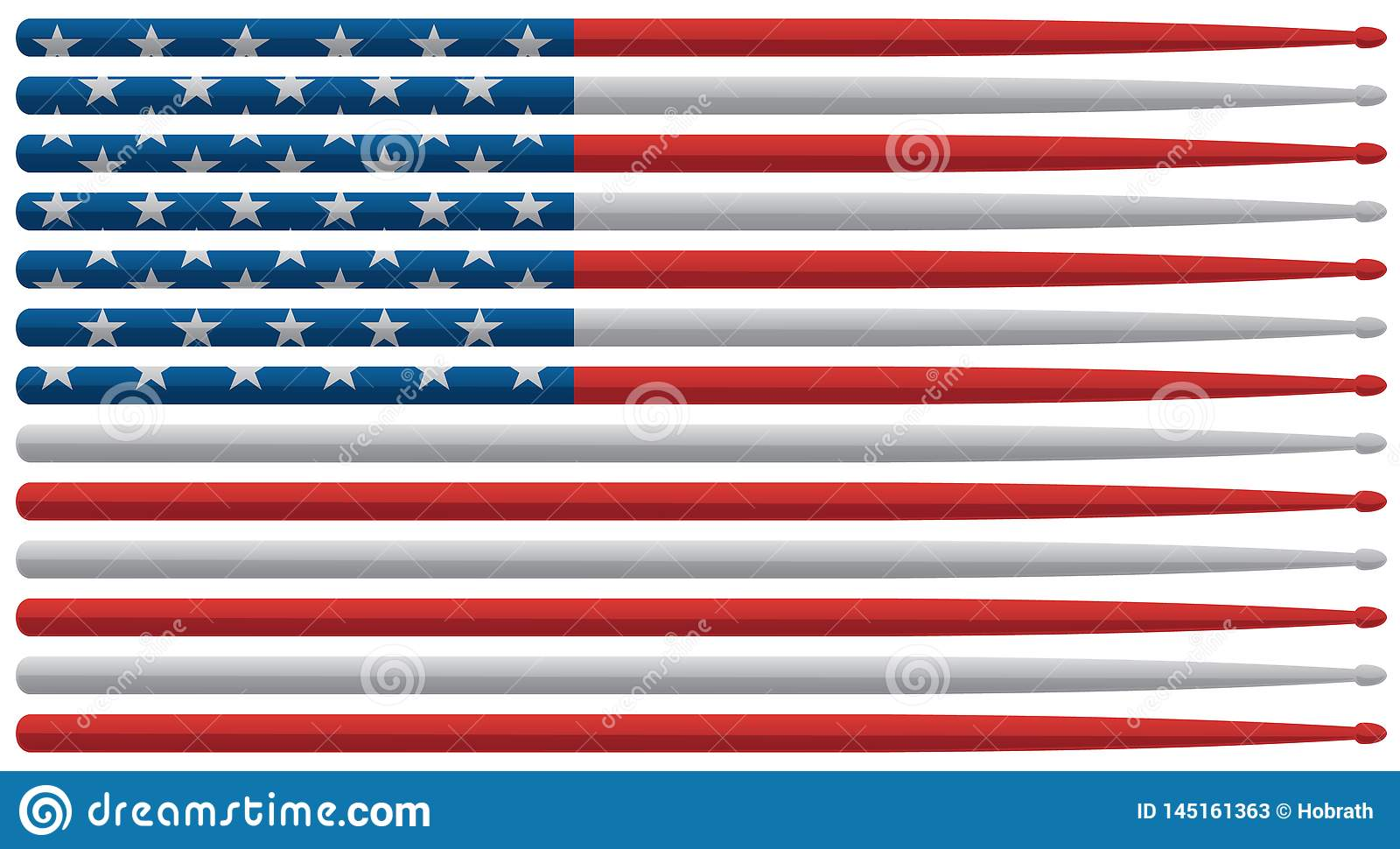 A bandeira americana do baterista com a bandeira dos Estados Unidos vermelha, branca e azul rufa cola a ilustração isolada do v