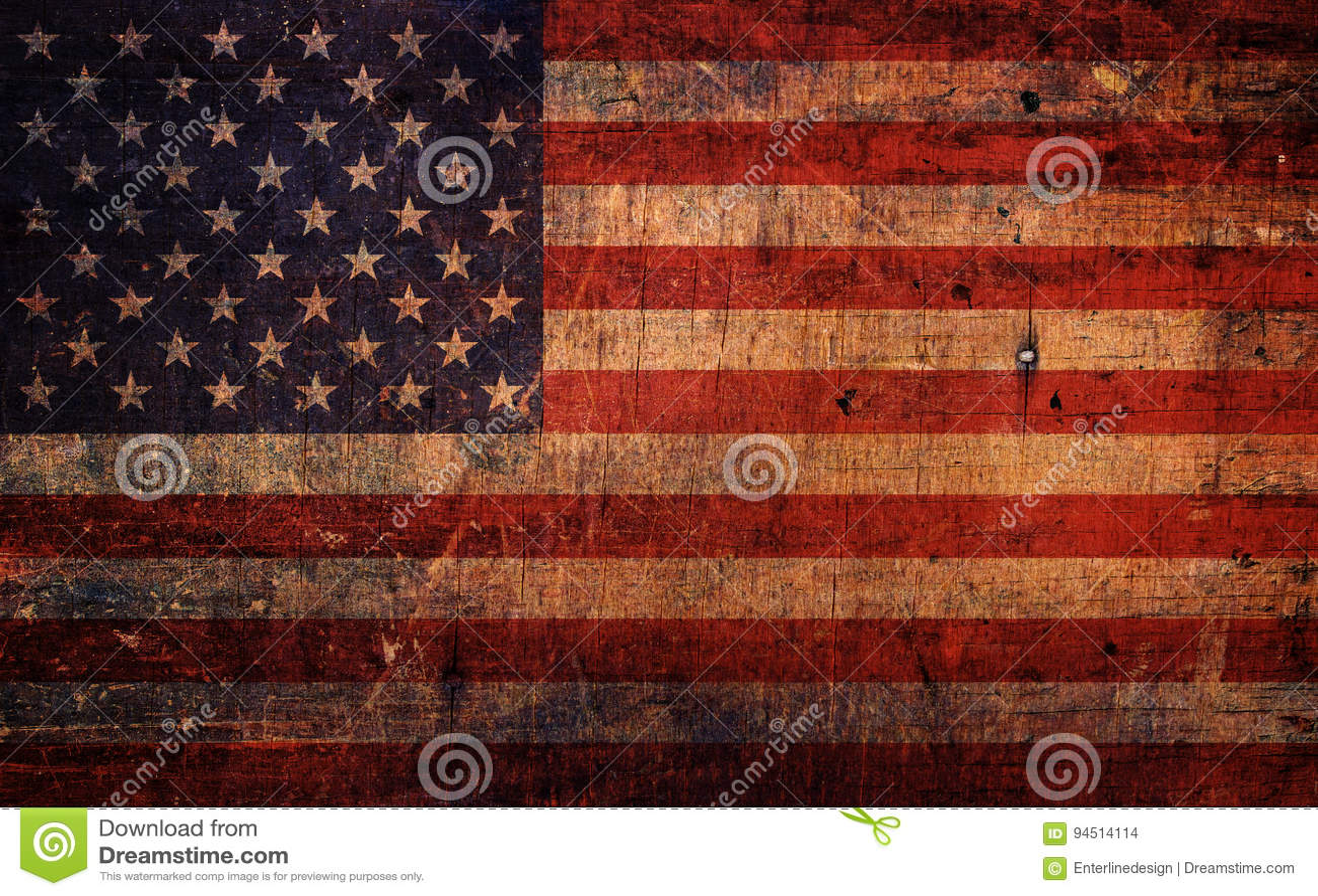 Bandeira americana do Grunge velho do vintage
