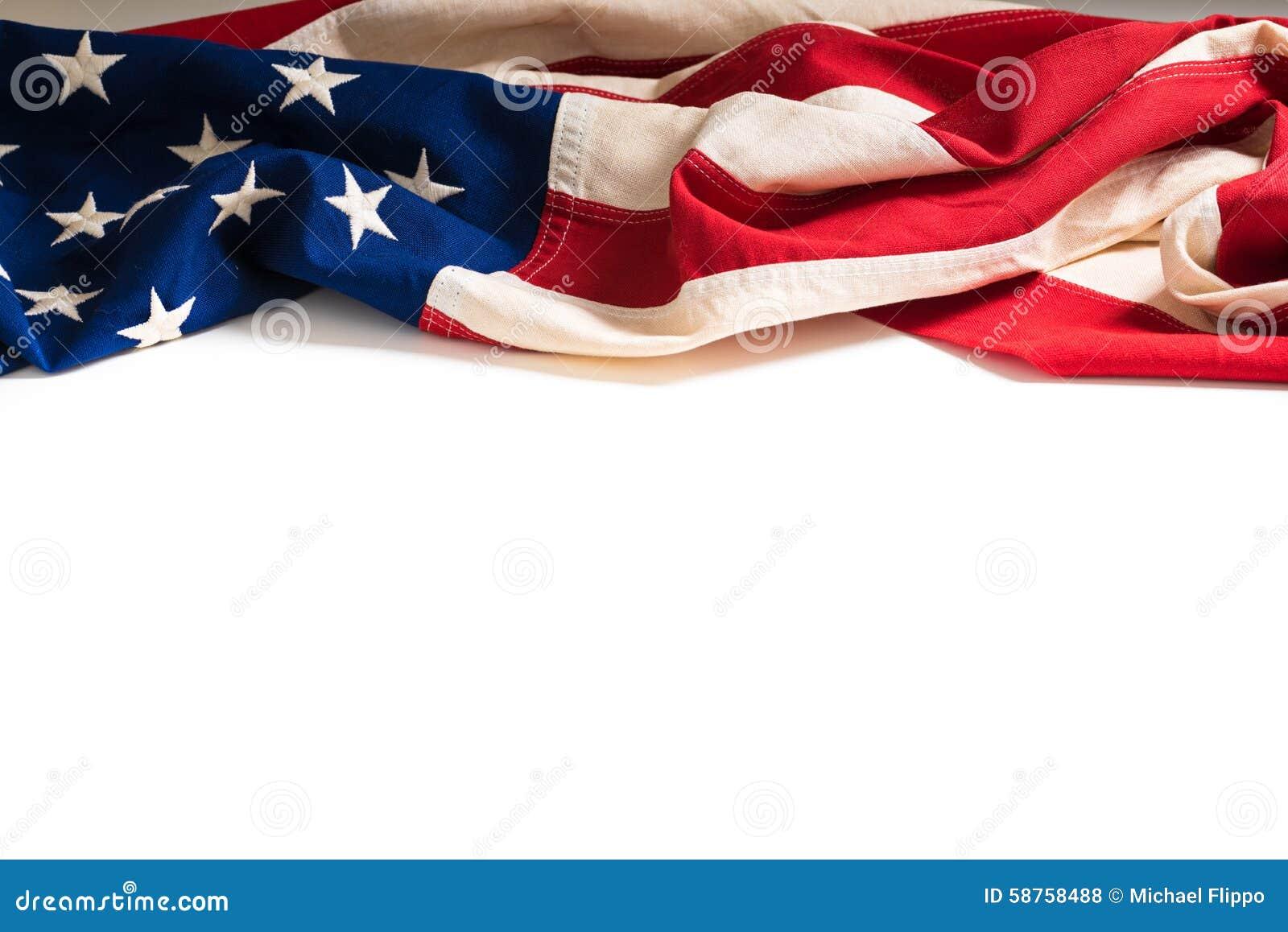 Bandeira americana do vintage no branco com espaço da cópia