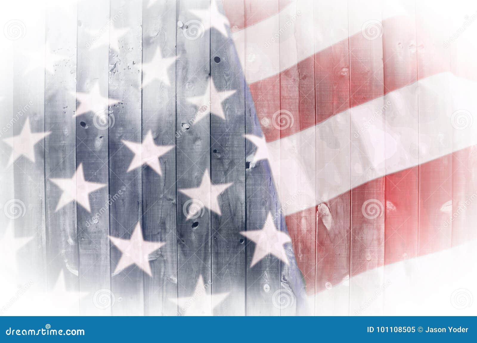 Bandeira americana na madeira