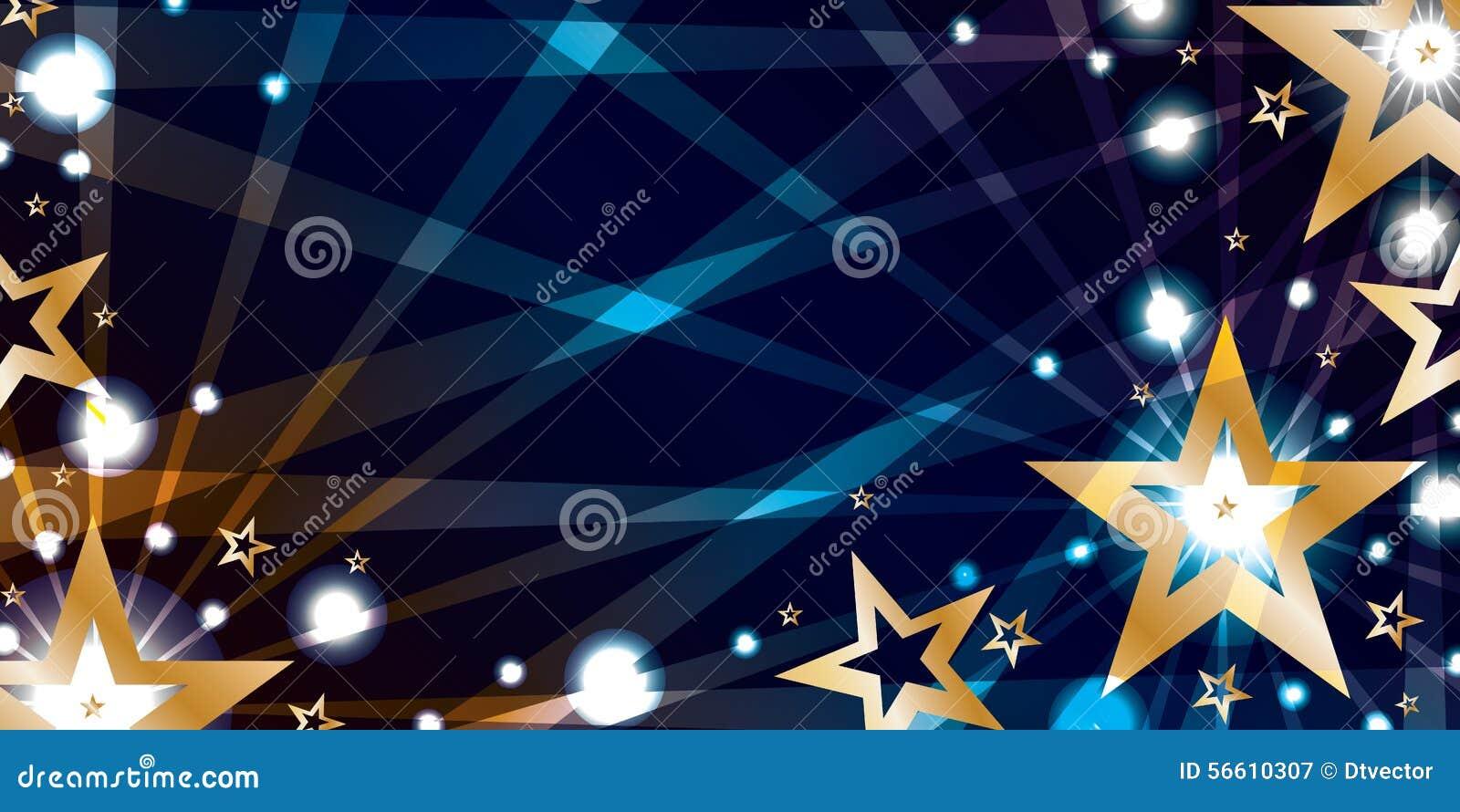 Bandeira azul da noite do ouro da estrela