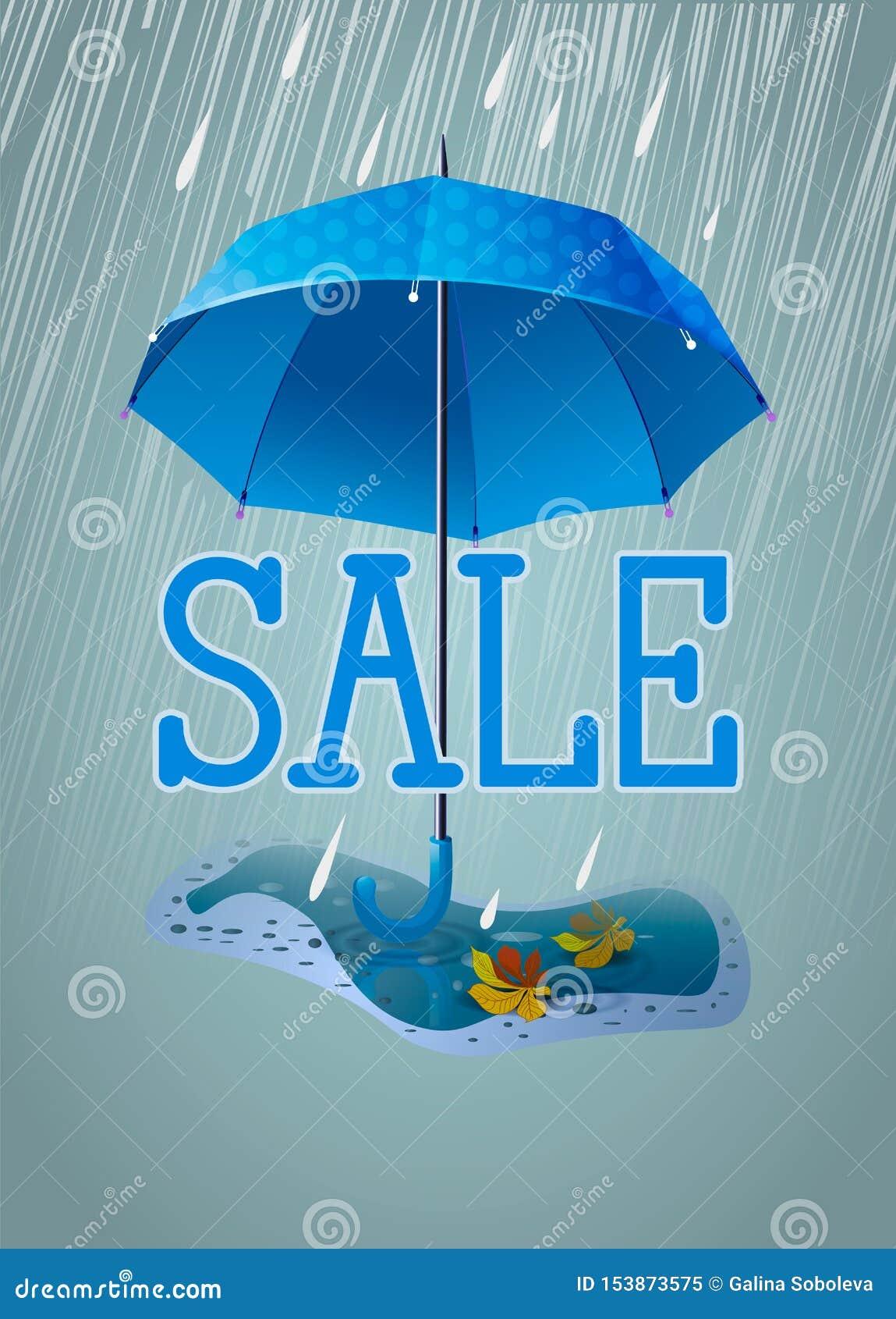 Bandeira bonito ou cartão para a venda Guarda-chuva azul na chuva e com uma poça com folhas de outono Ilustra??o vertical