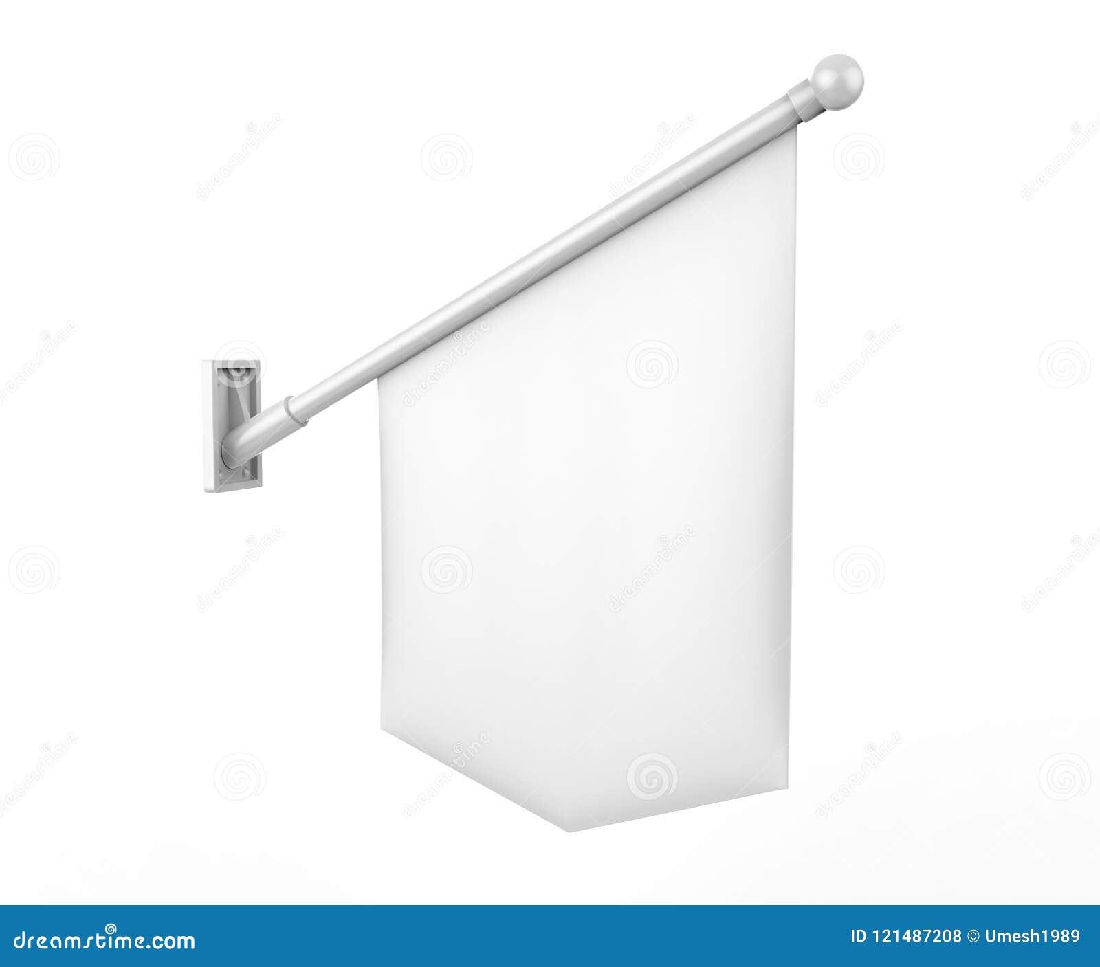 Bandeira branca vazia da parede com Polo e suporte O dobro tomou partido e aperfeiçoa para o retalho