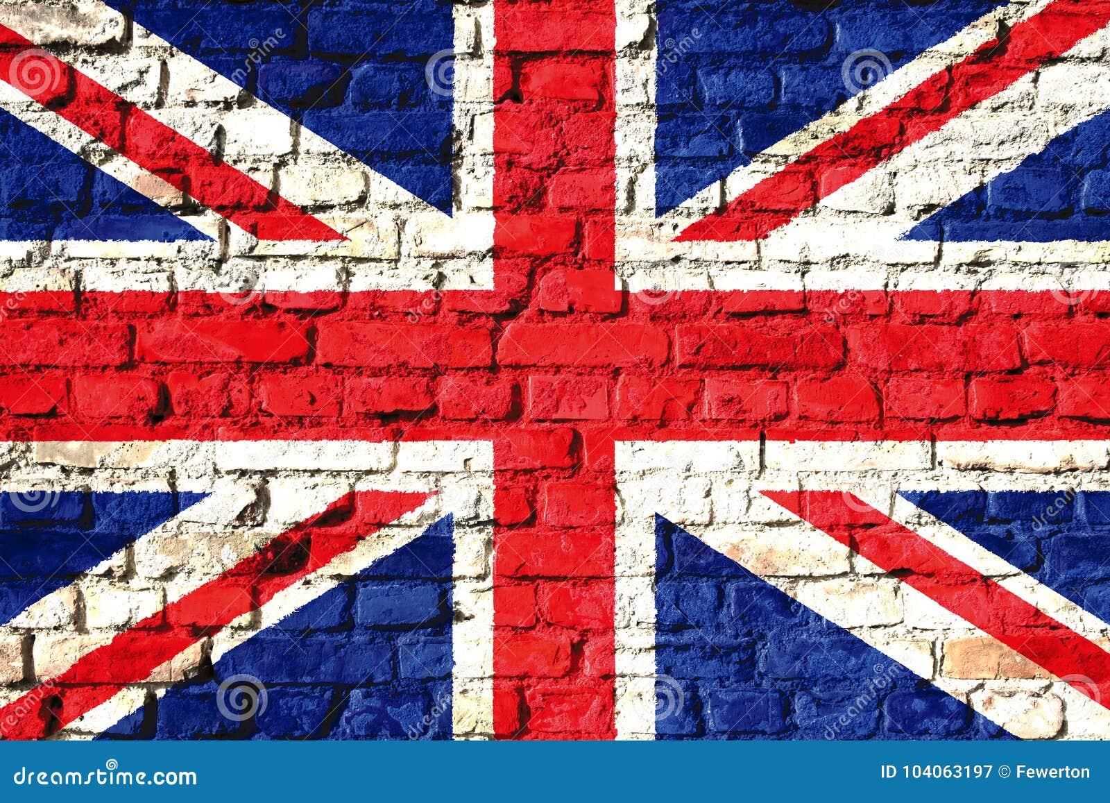 Bandeira BRITÂNICA de Reino Unido pintada em uma parede de tijolo