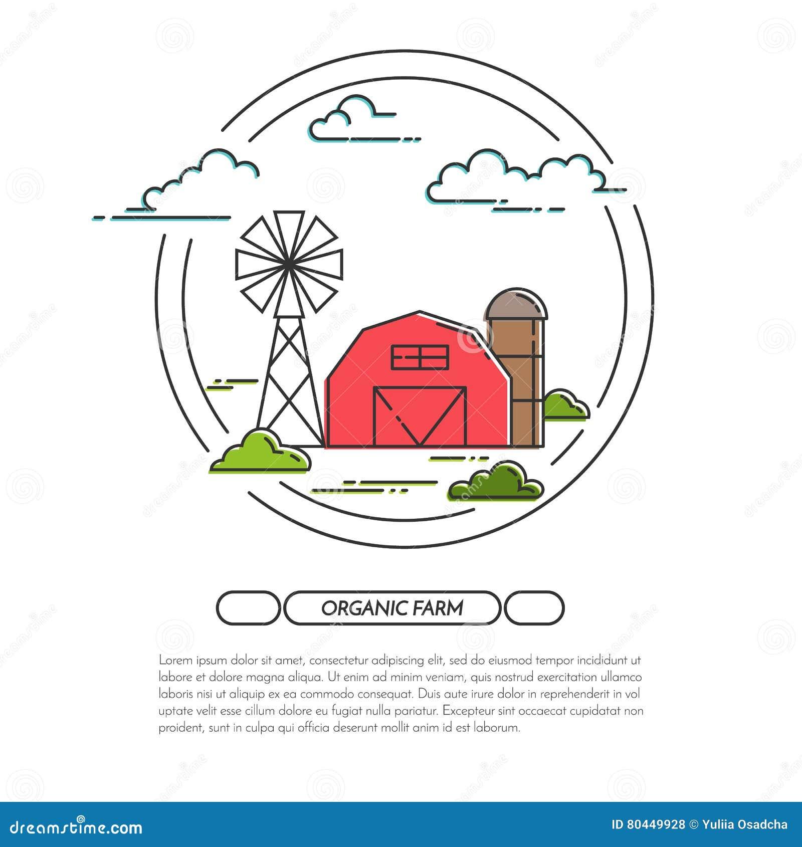 0fad730b2dd A bandeira da casa da quinta para produtos agrícolas anuncia a linha lisa  vetor da arte