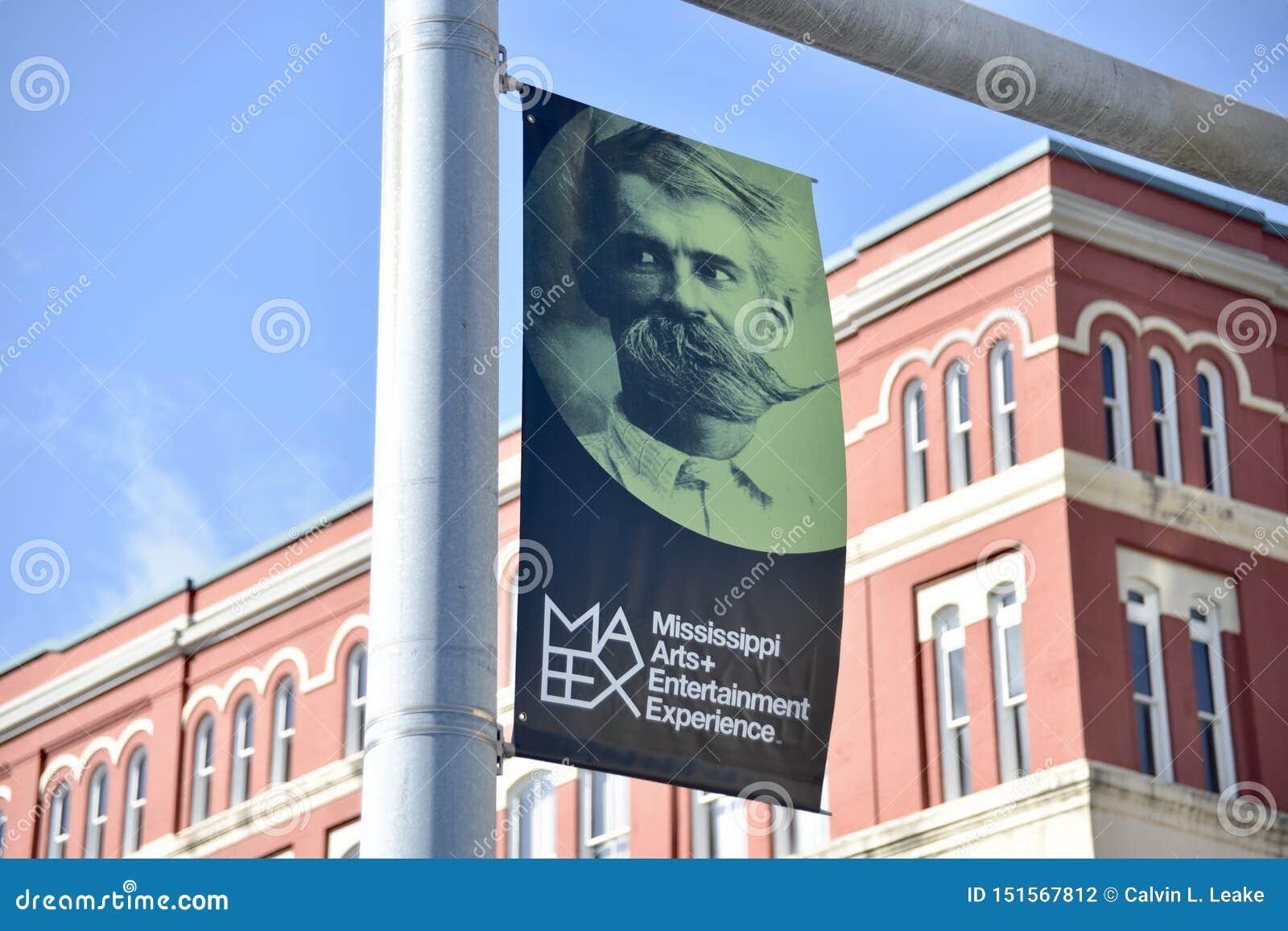 Bandeira da experiência das artes e do entretenimento de Mississippi, meridiano, Mississippi