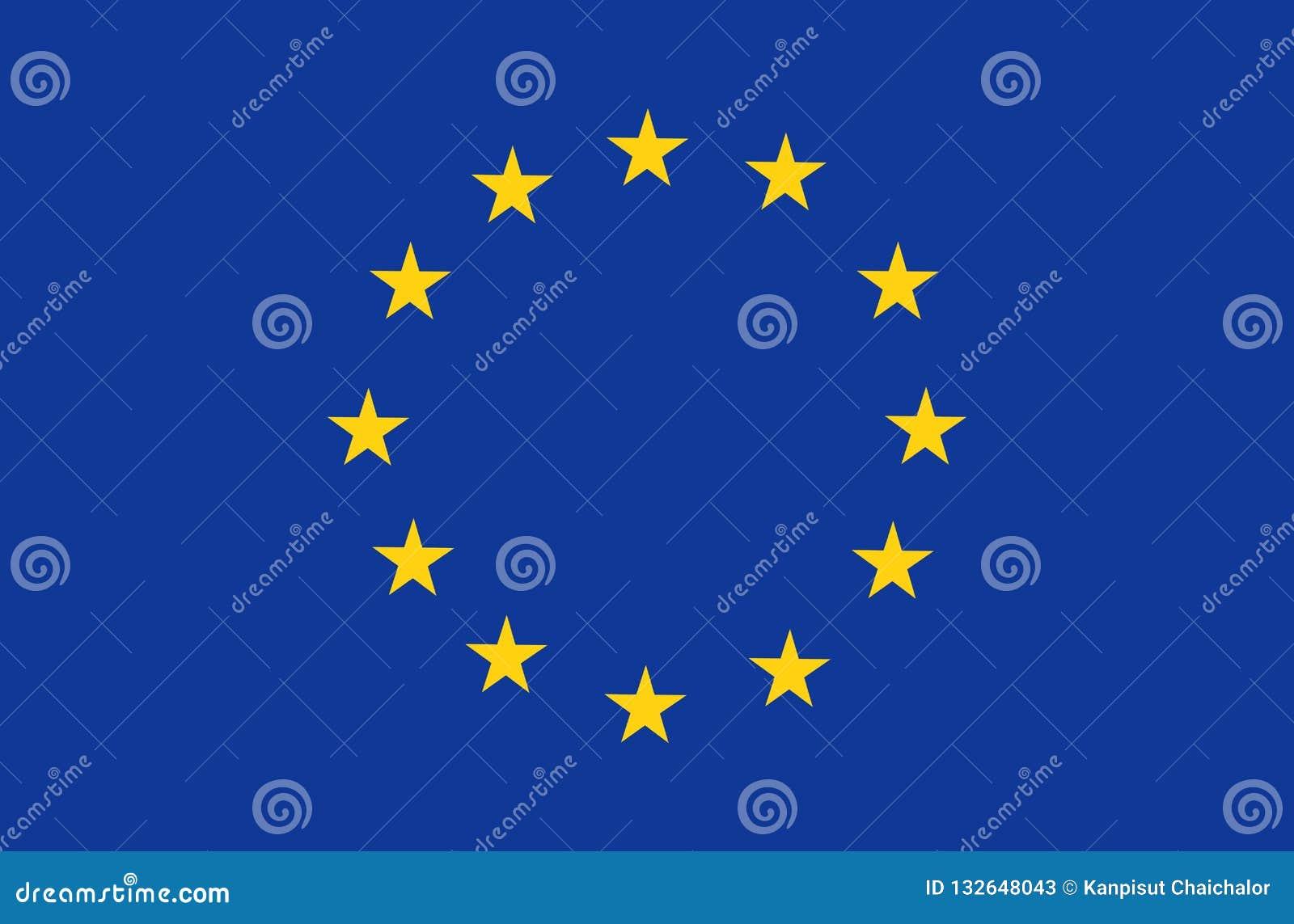 A bandeira da União Europeia, as cores oficiais e proporcionam corretamente Símbolo patriótico da UE, bandeira, elemento, projeto