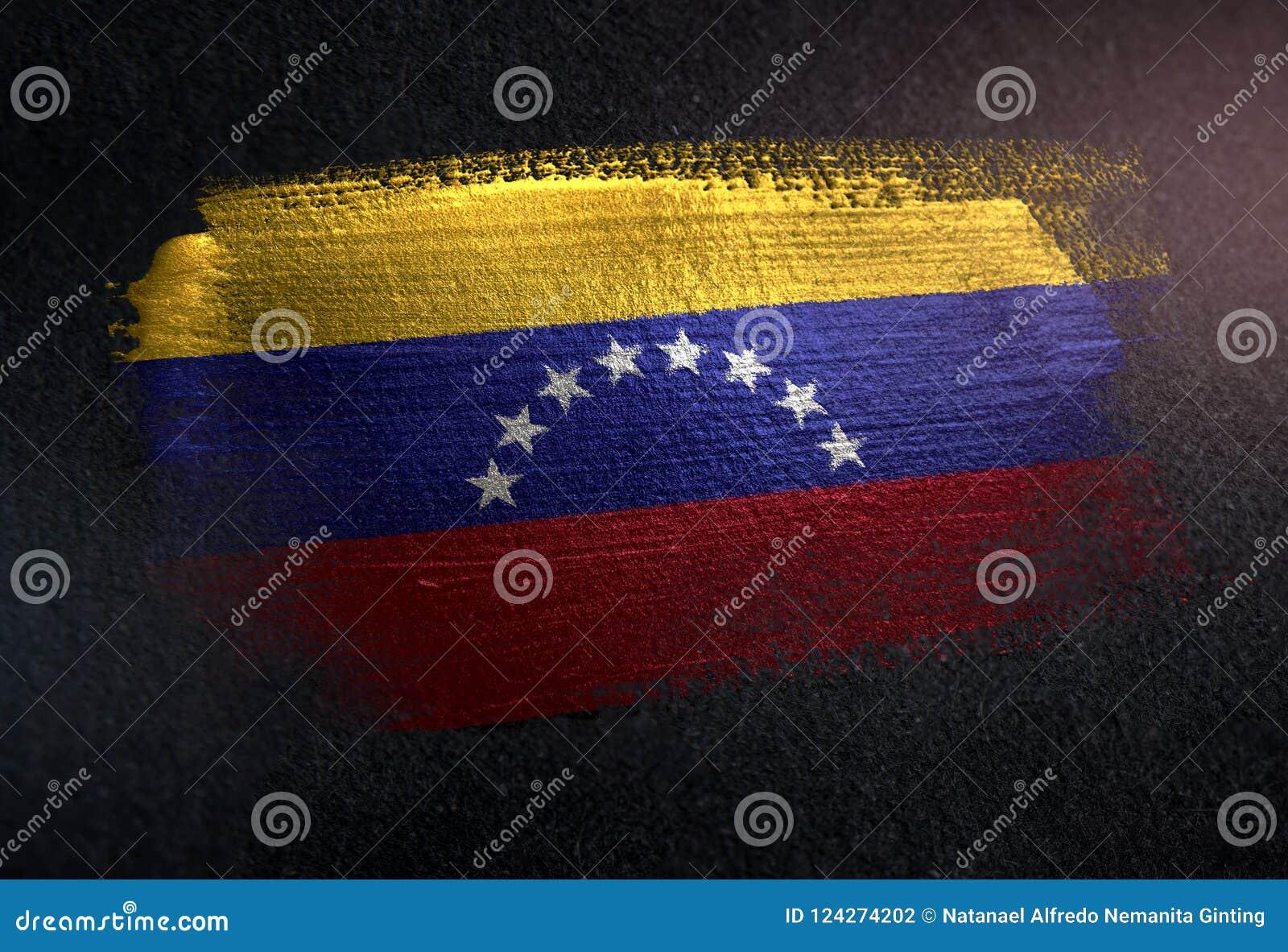 Bandeira da Venezuela feita da pintura metálica da escova na parede da obscuridade do Grunge