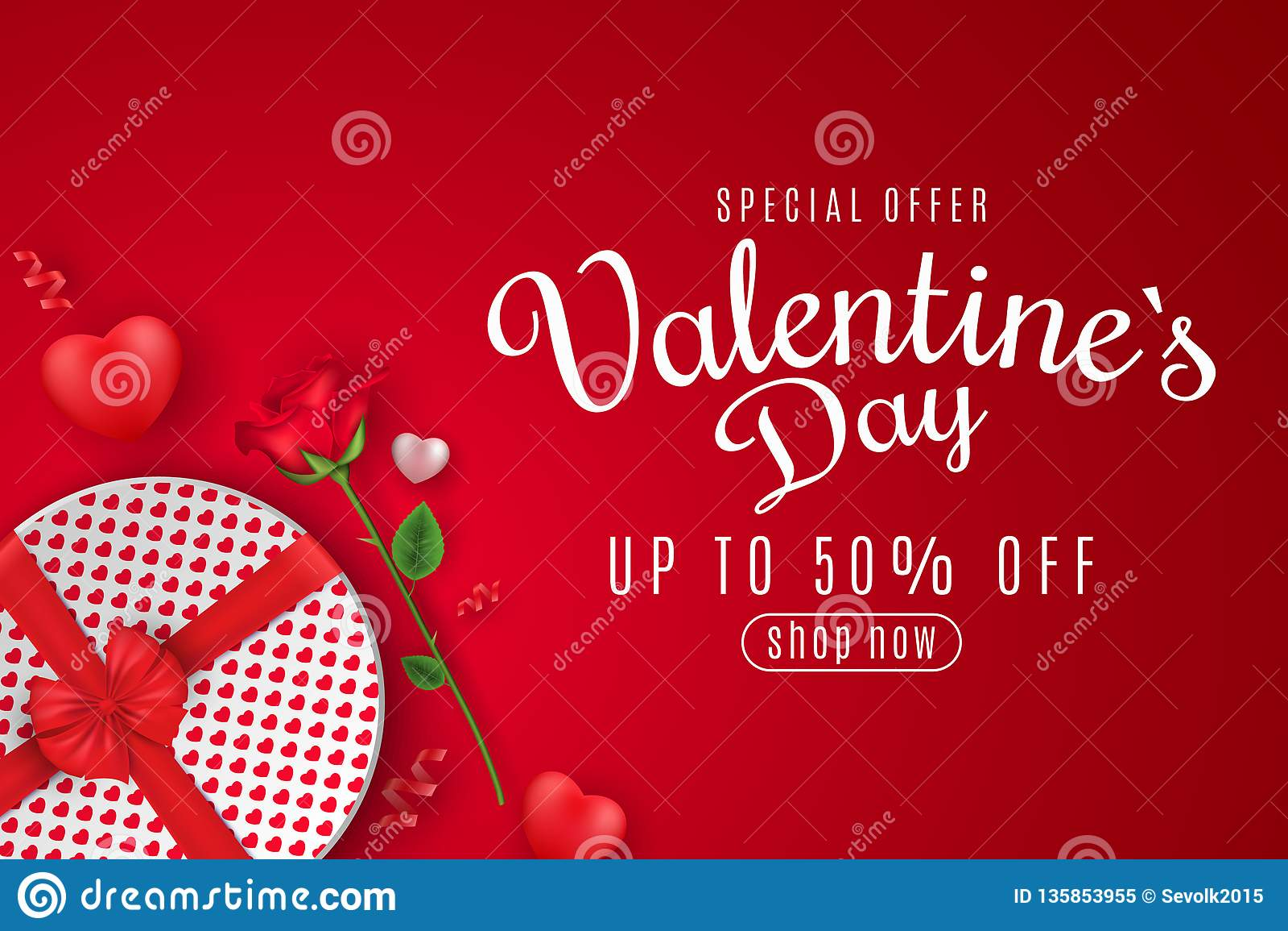 Bandeira da Web do dia de Valentim para a venda Vista superior Composição romântica com a caixa do presente e a flor redondas da