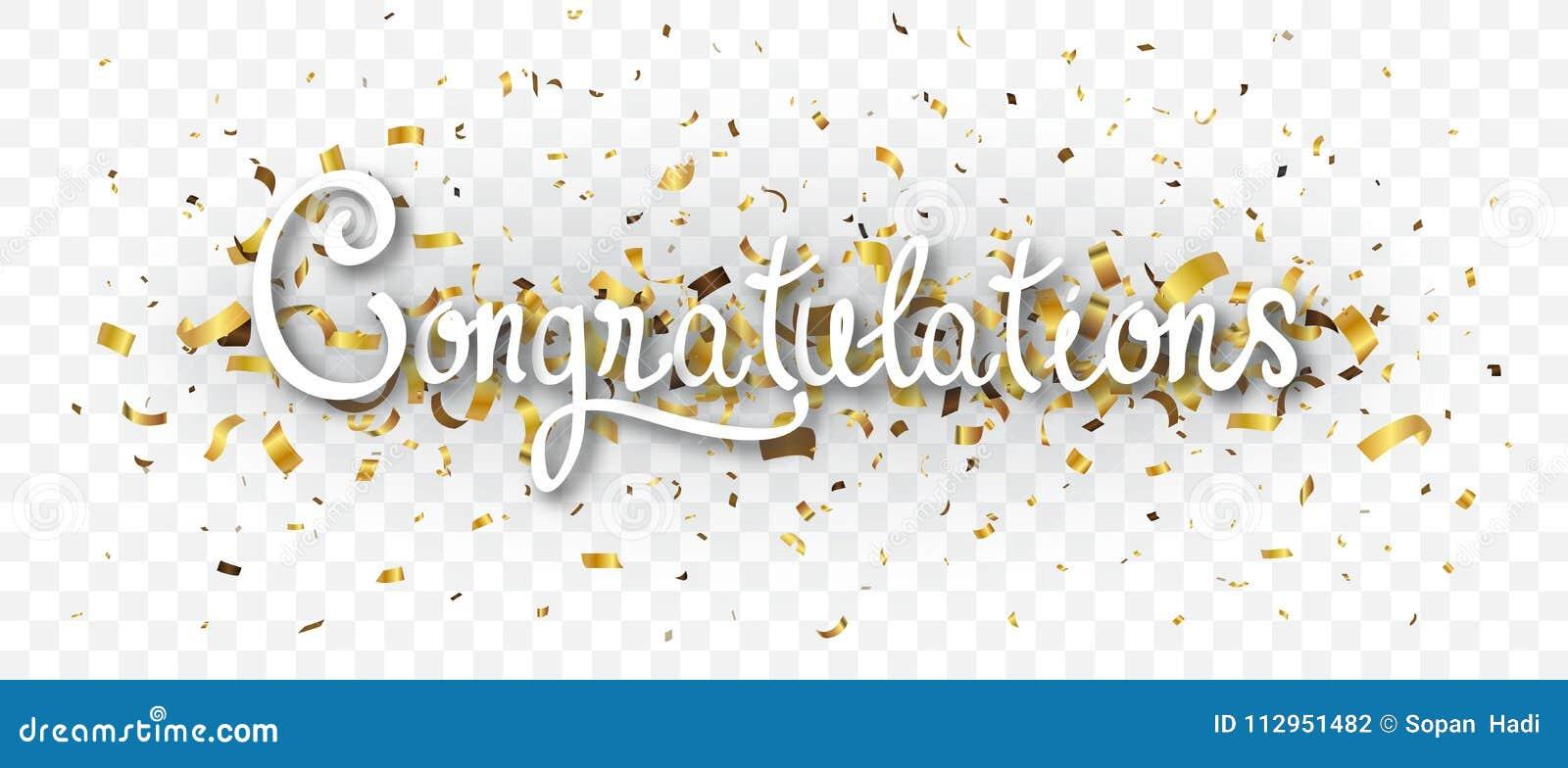 Bandeira das felicitações com os confetes do ouro, isolados no fundo transparente