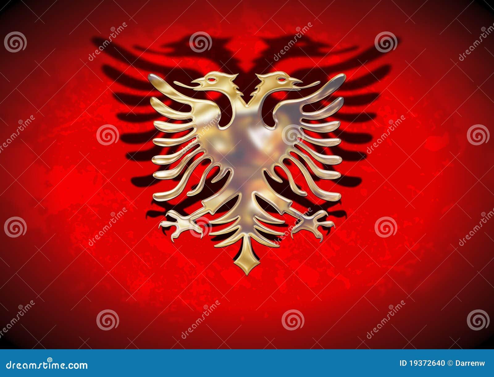 Bandeira de Albânia do ouro