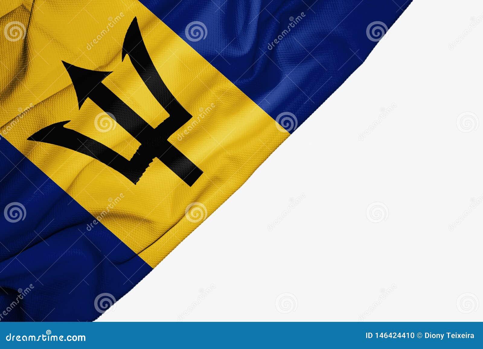 Bandeira de Barbados da tela com copyspace para seu texto no fundo branco