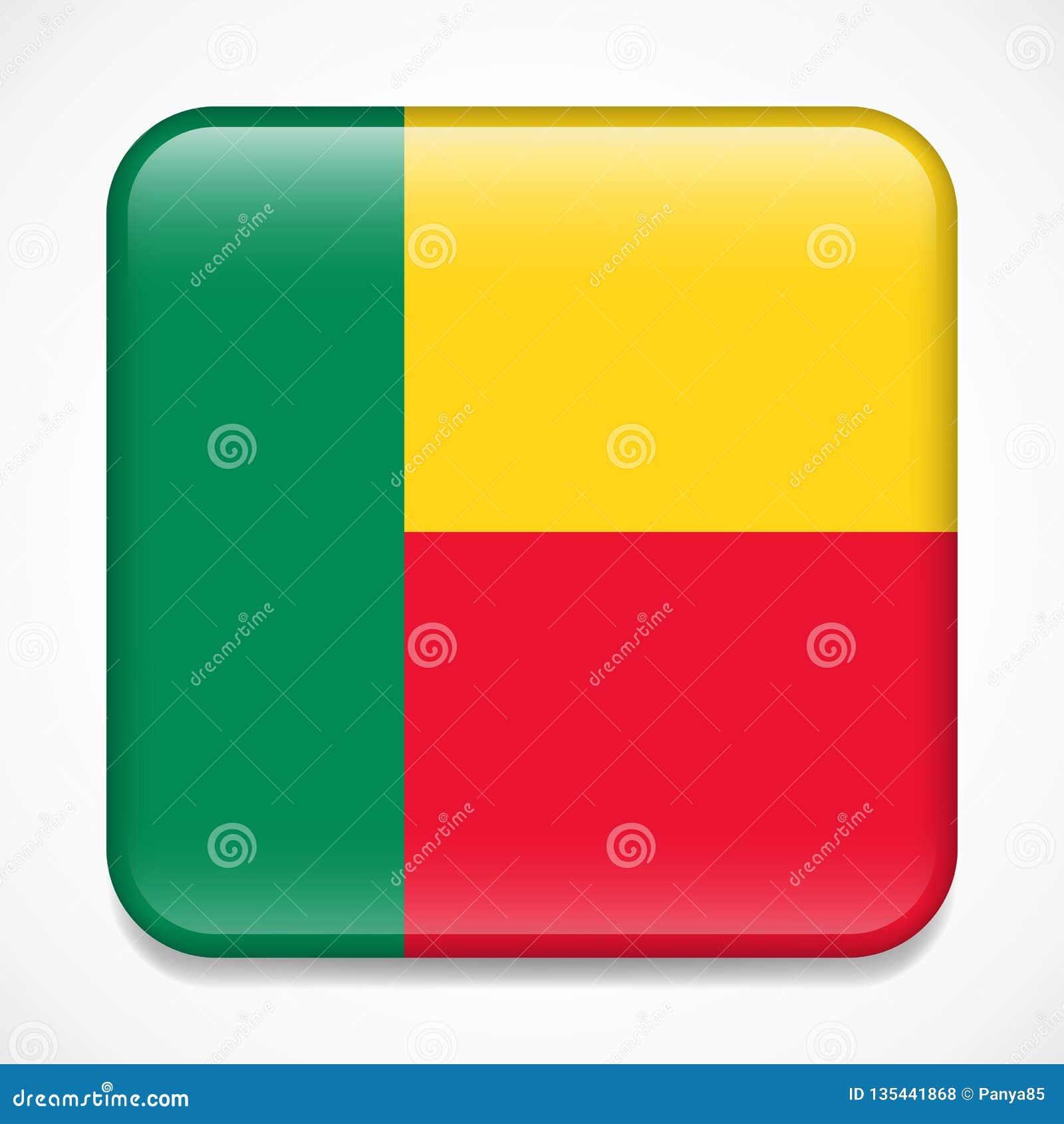 Bandeira de benin Crachá lustroso do quadrado