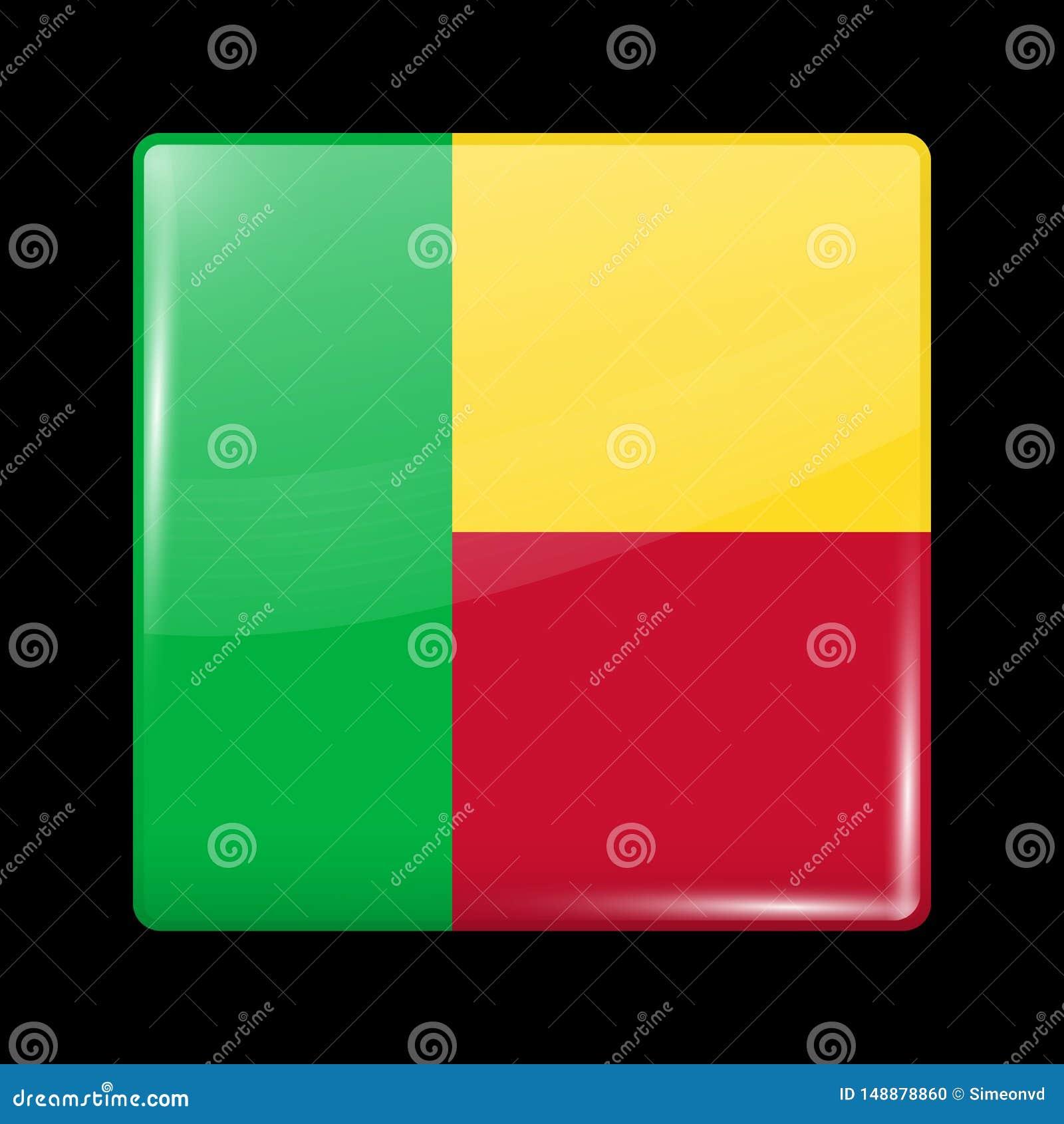 Bandeira de benin Forma lustrosa do quadrado do ?cone Vetor