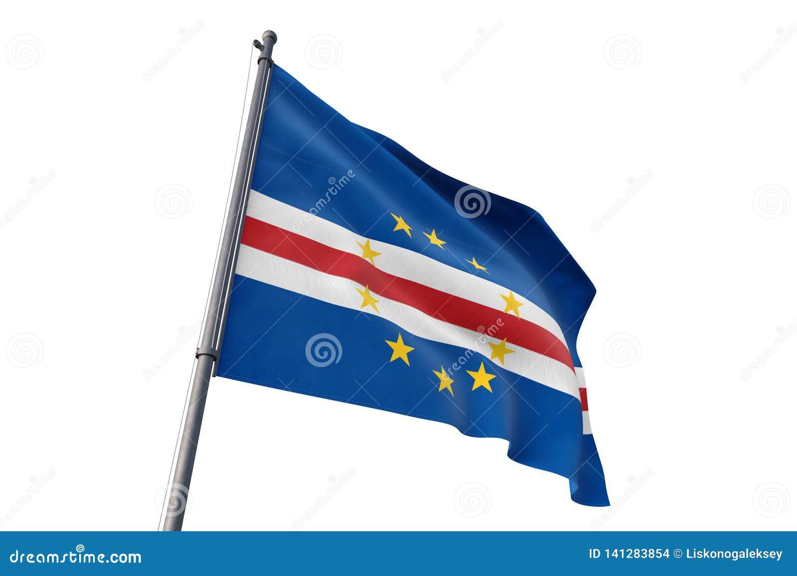 Bandeira de Cabo Verde que acena a ilustração branca isolada do fundo 3D