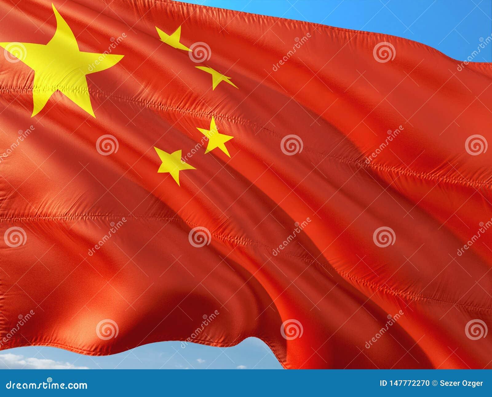 Bandeira de China que acena no vento contra o c?u azul profundo Tela de alta qualidade