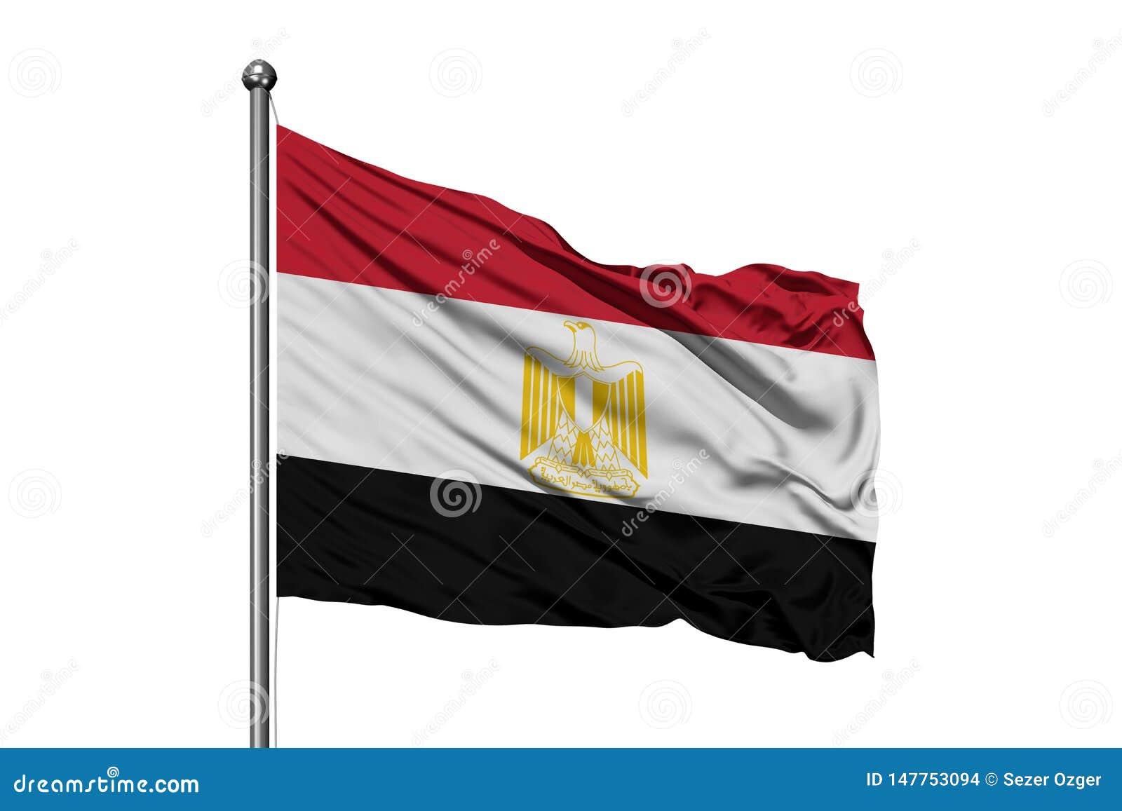Bandeira de Egito que acena no vento, fundo branco isolado Bandeira eg?pcia
