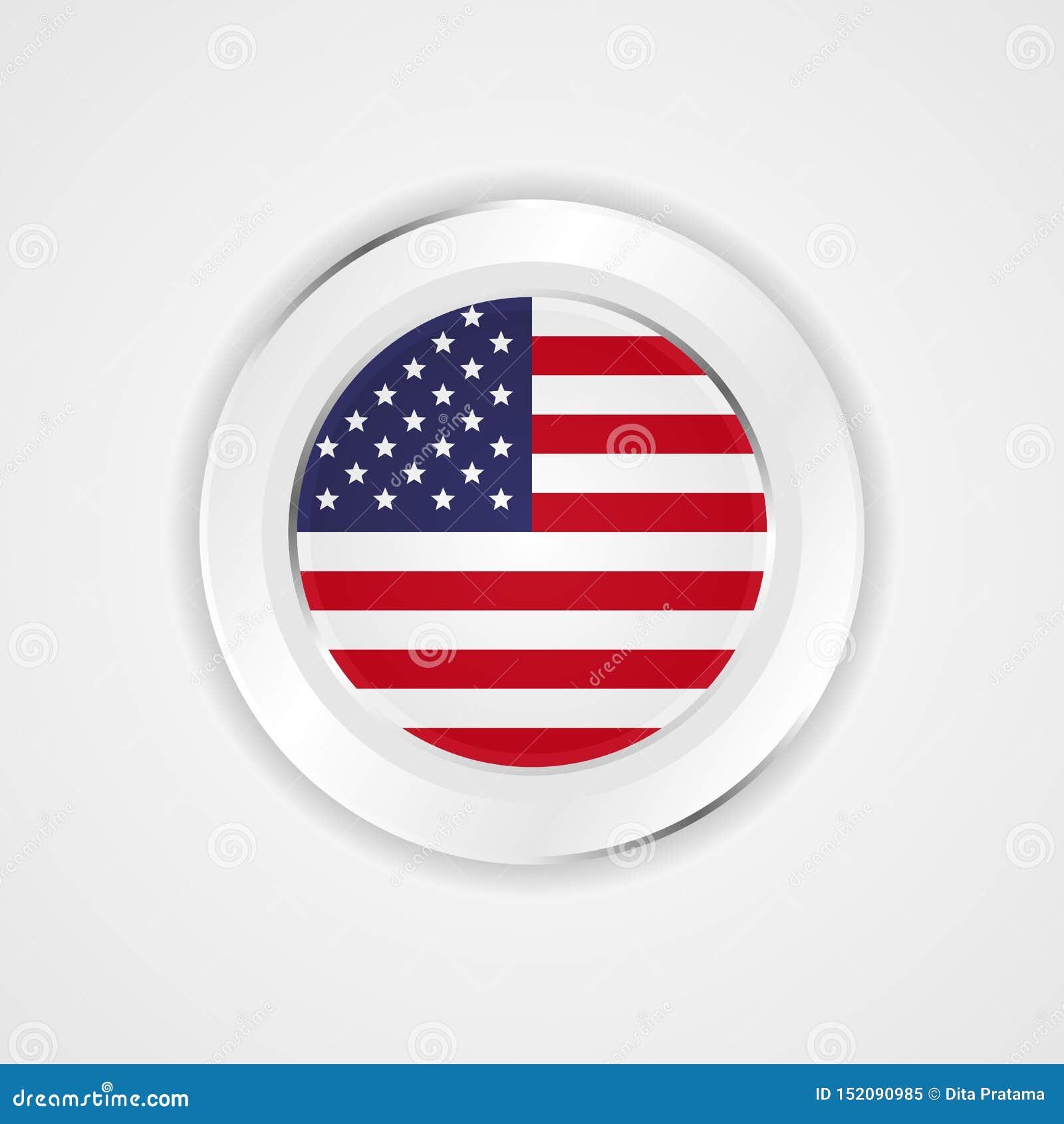 Bandeira de Estados Unidos da América no ícone lustroso