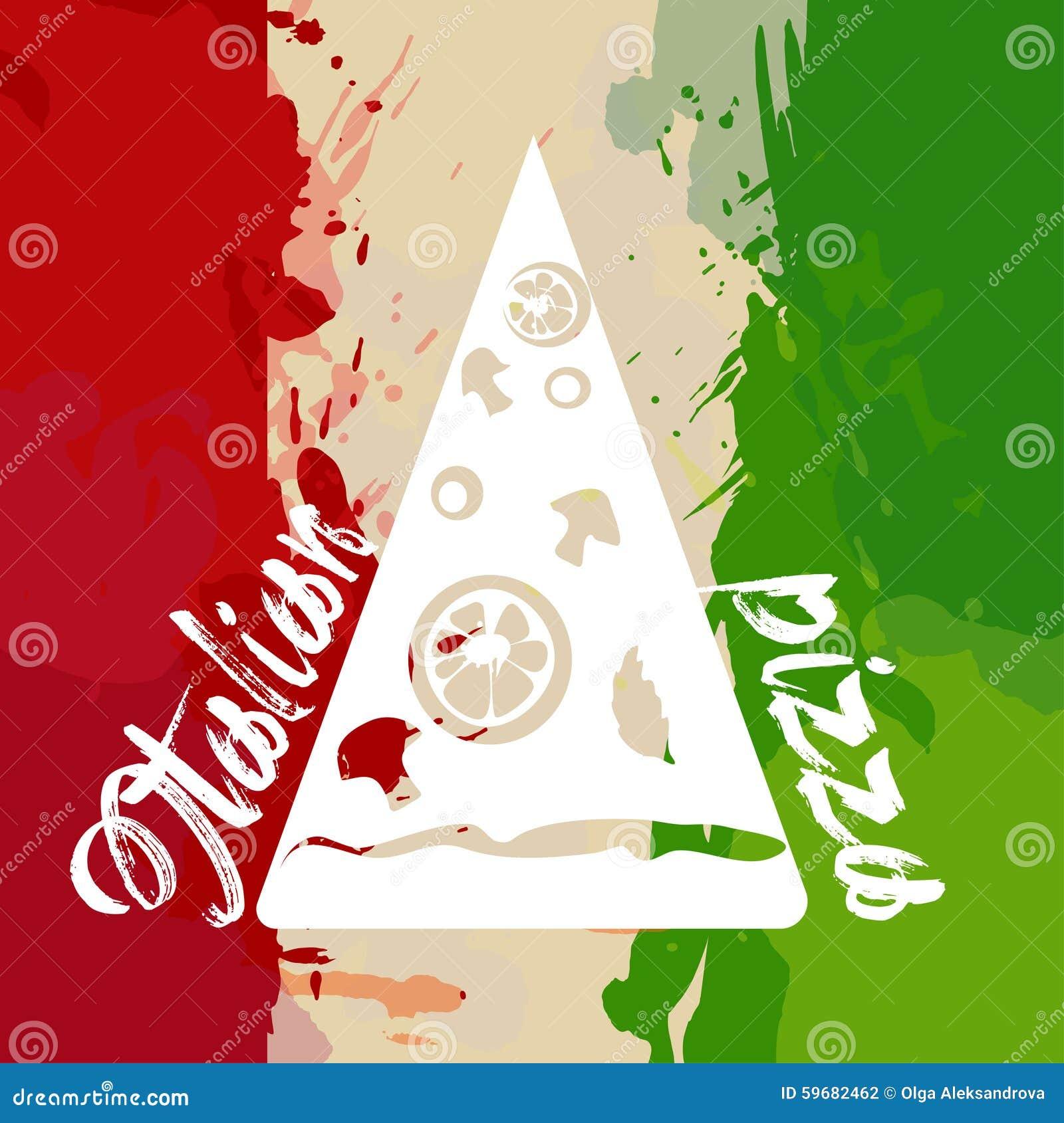 d5f9f1368d269 Bandeira De Itália Com Respingo E Pizza Da Cor Ilustração do Vetor ...