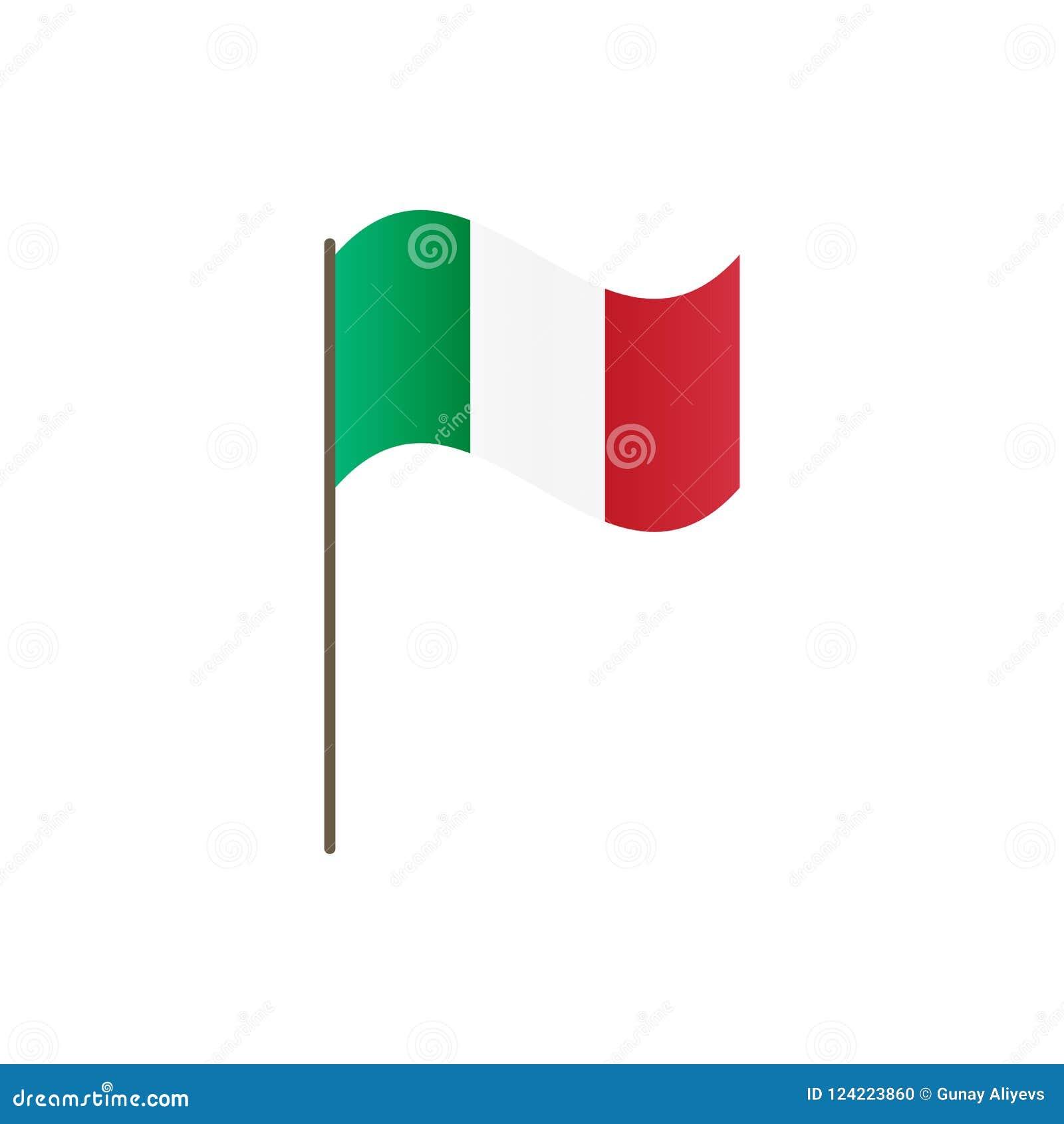 9a050bdb11f8d Bandeira de Itália no mastro de bandeira Cores e proporção oficiais  corretamente Ondulação da bandeira de Itália no mastro de bandeira