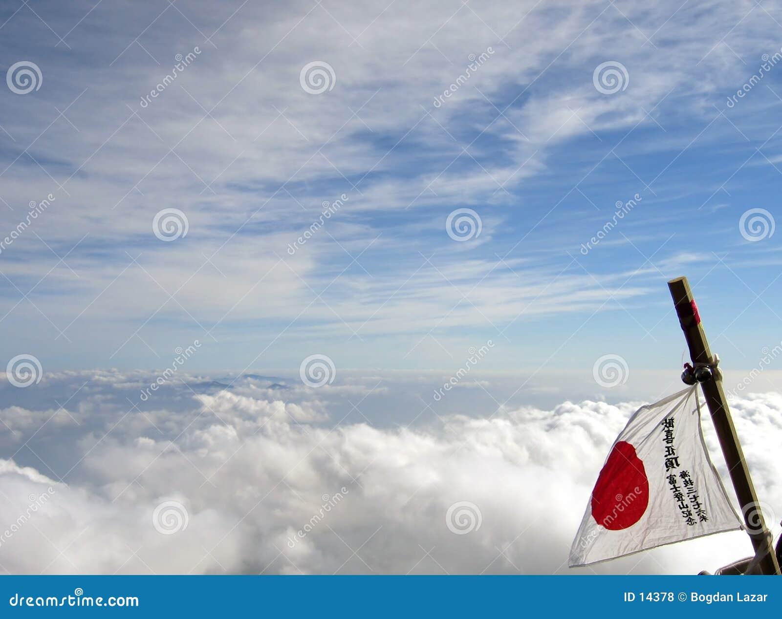 Bandeira de Japão na montagem Fuji