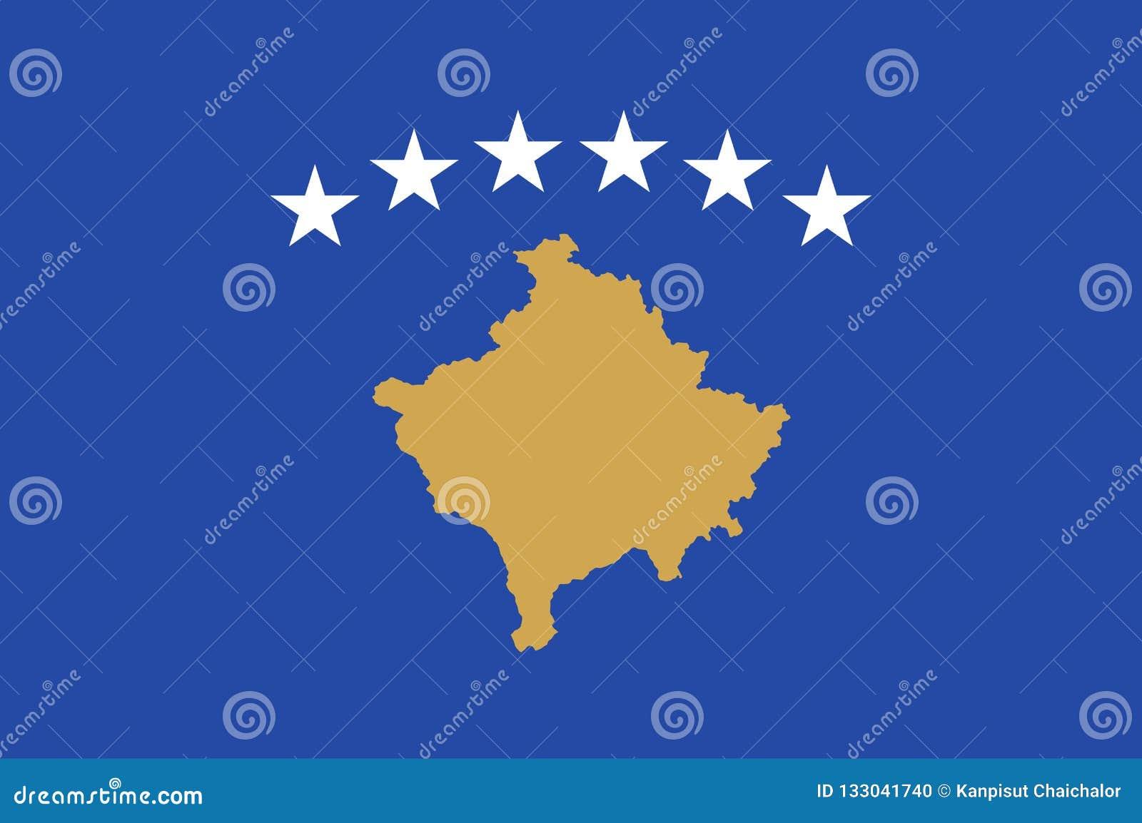 Bandeira de Kosovo para o Dia da Independência e a ilustração infographic do vetor Cores e proporção oficiais corretamente