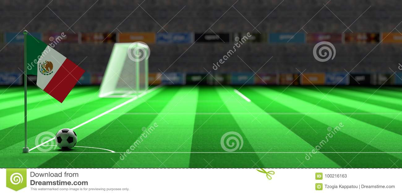 Bandeira de México em um campo de futebol ilustração 3D