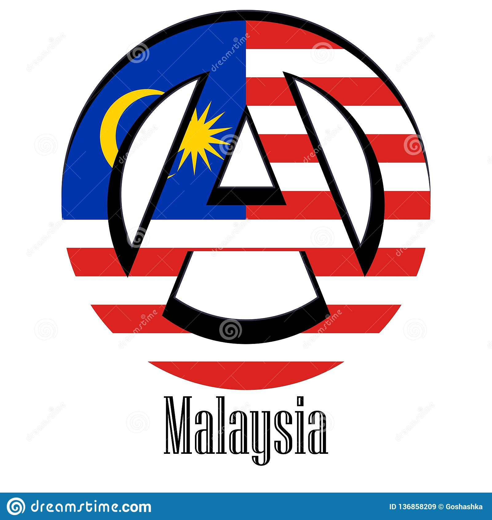 Bandeira de Malásia do mundo sob a forma de um sinal da anarquia