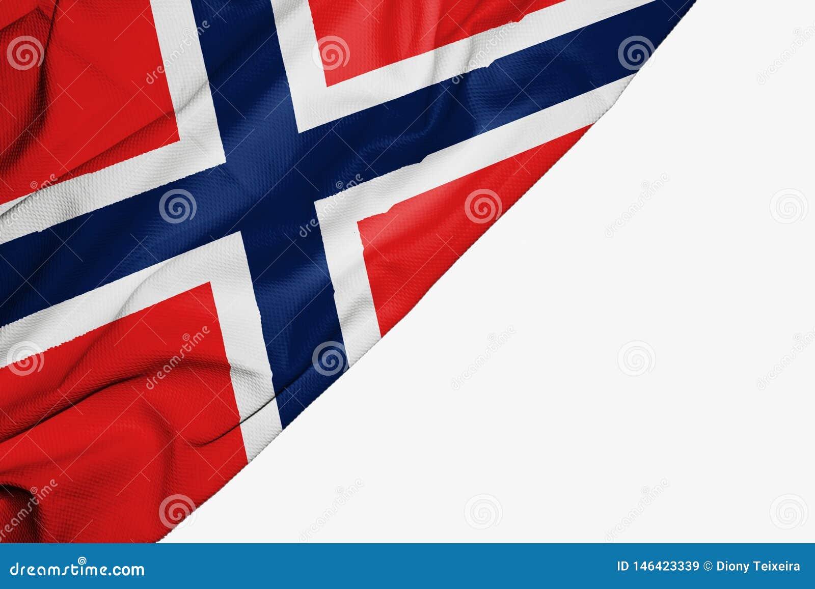 Bandeira de Noruega da tela com copyspace para seu texto no fundo branco