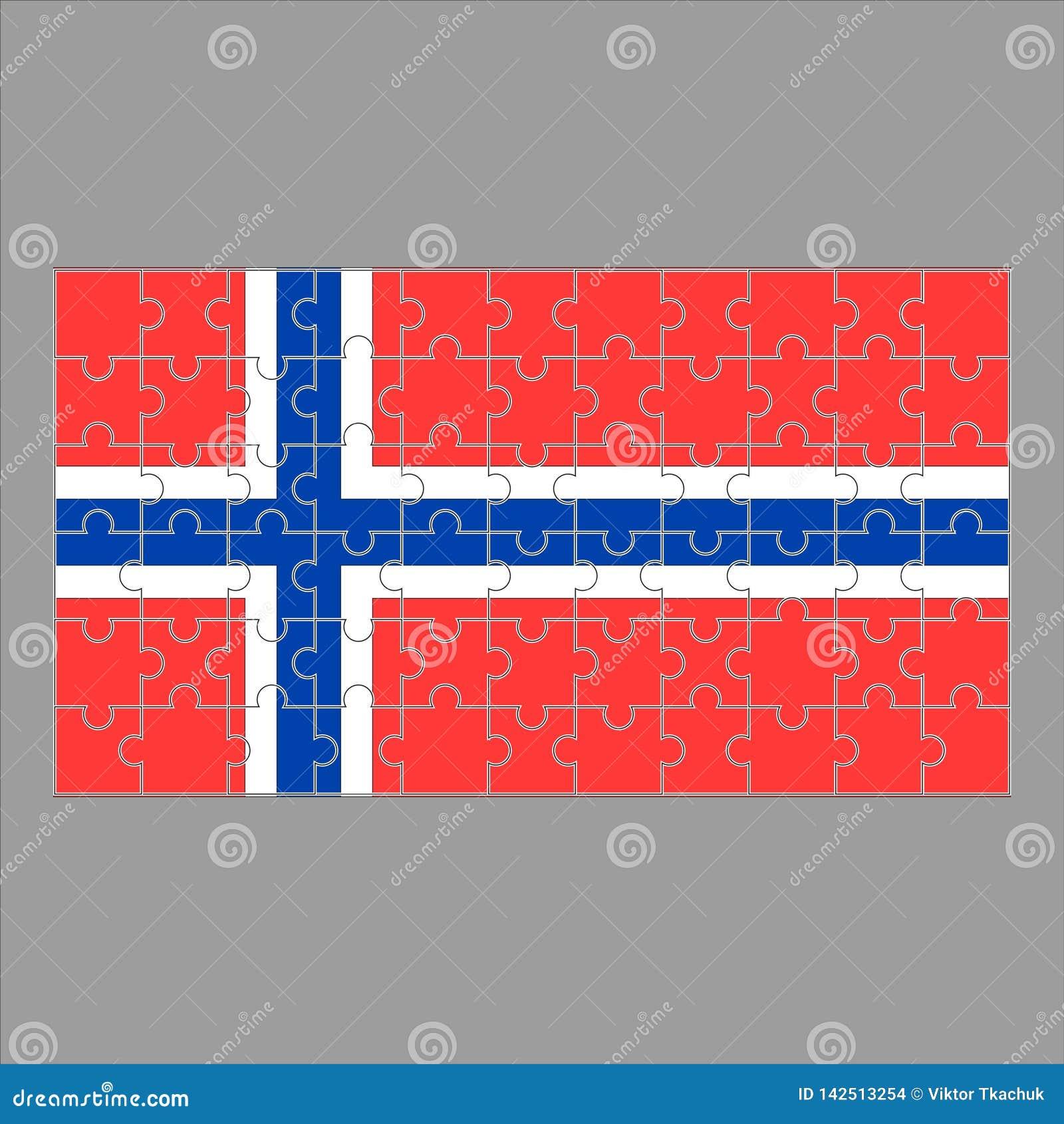 Bandeira de Noruega do enigma em um fundo cinzento