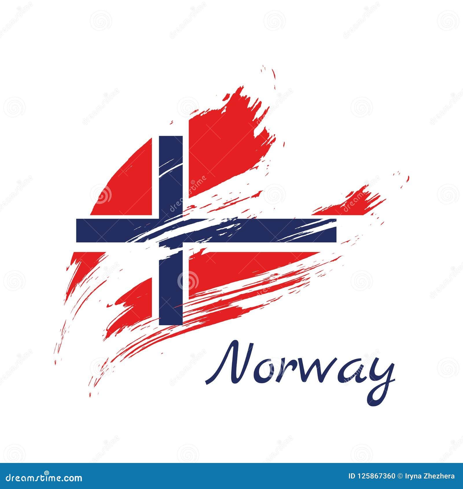 Bandeira de Noruega Bandeira pintada escova de Noruega Estilo tirado mão mim