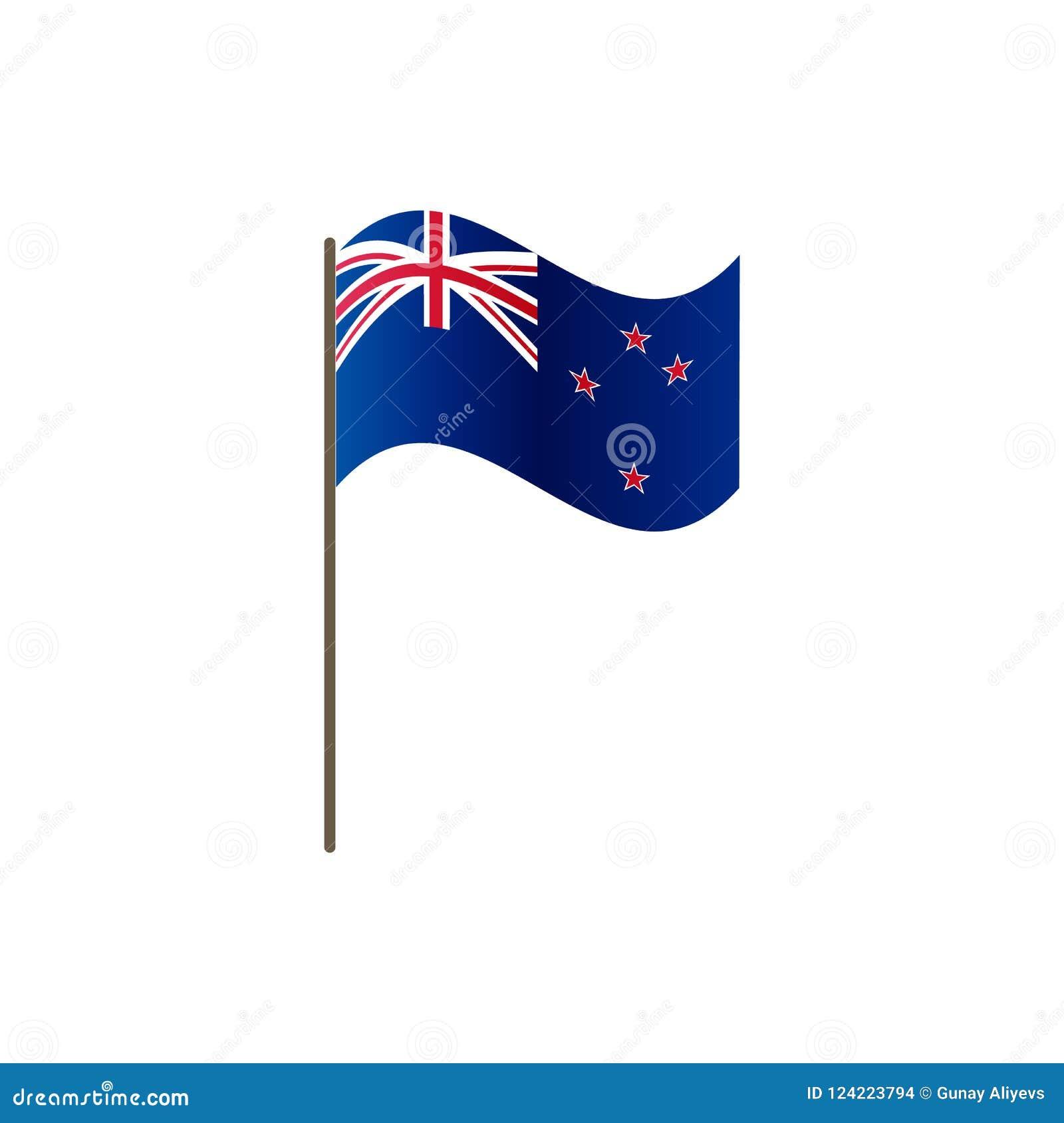 Bandeira de Nova Zelândia no mastro de bandeira Cores e proporção oficiais corretamente Ondulação da bandeira de Nova Zelândia no