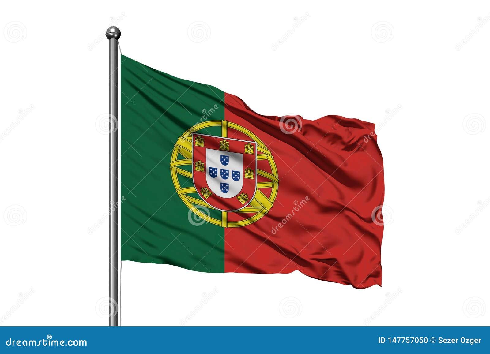 Bandeira de Portugal que acena no vento, fundo branco isolado Bandeira portuguesa
