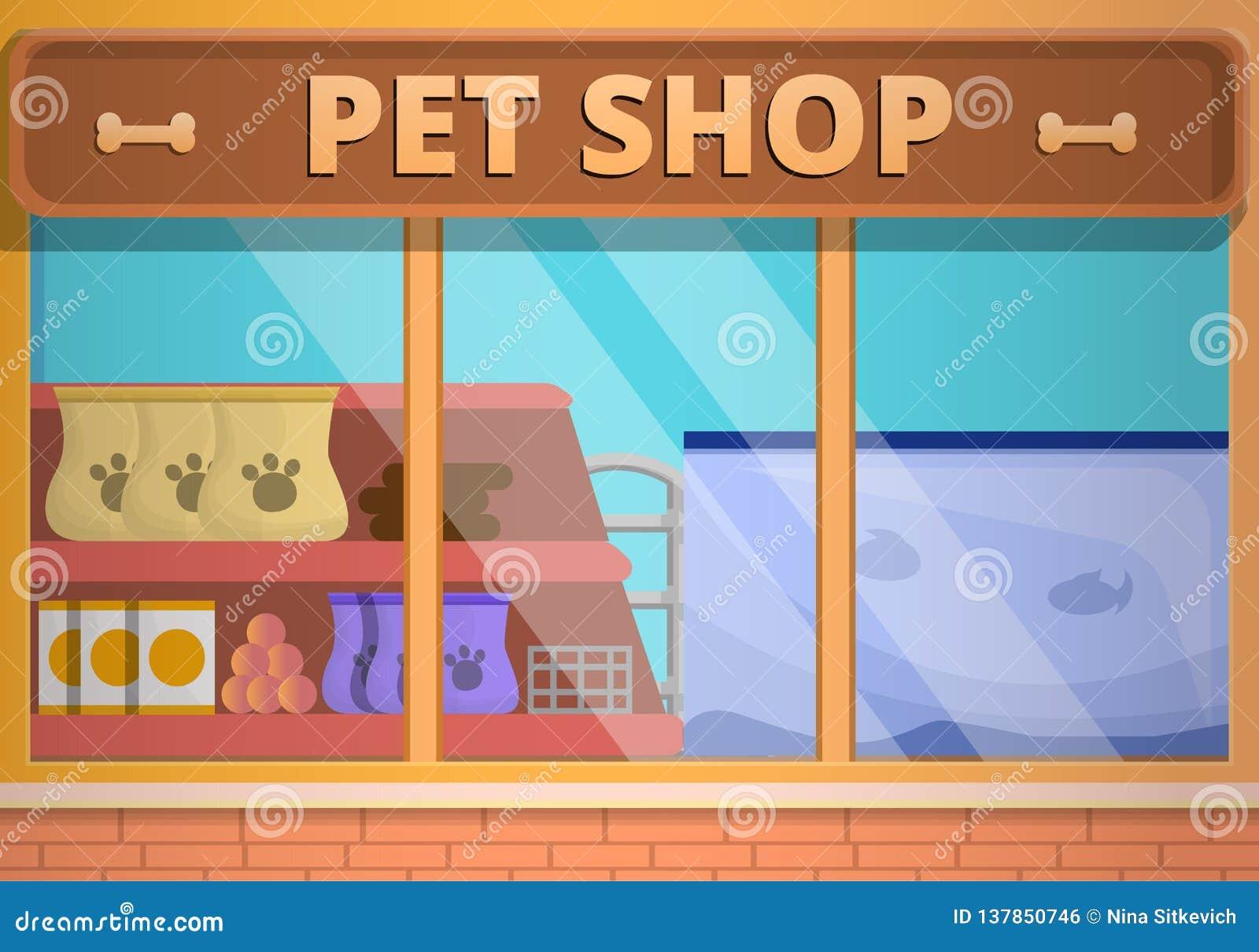Bandeira de vidro do conceito da loja de animais de estimação, estilo dos desenhos animados