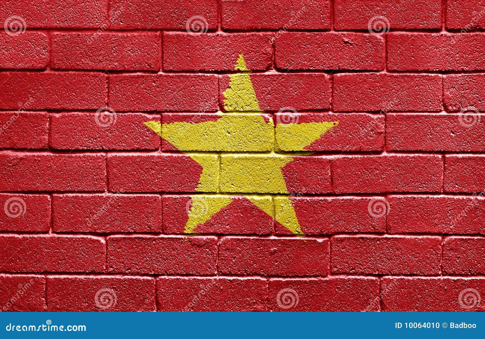 Bandeira de Vietnam na parede de tijolo