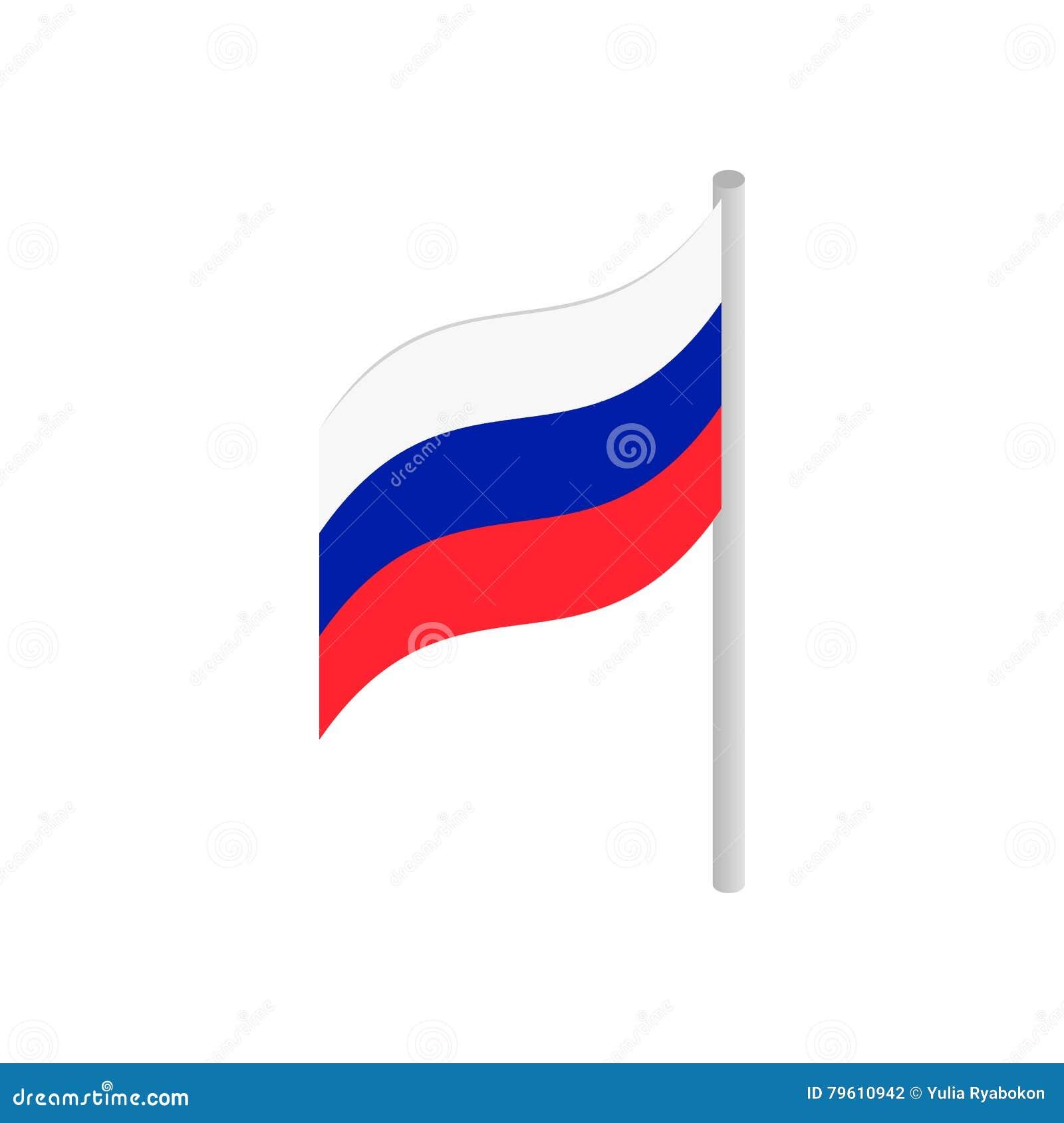 Bandeira do ícone 3d isométrico de Rússia